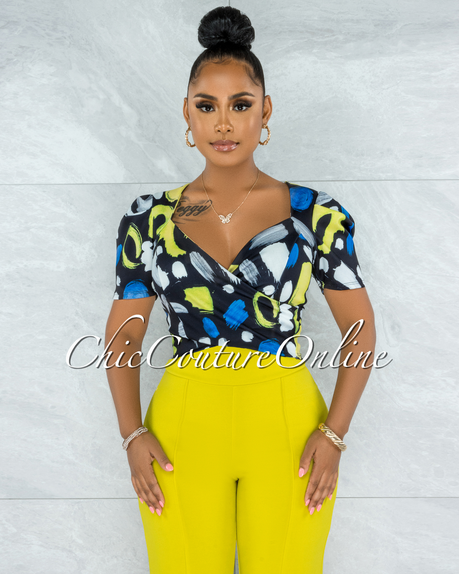 Donna Black Blue Yellow Print Bubble Sleeves Crop Top