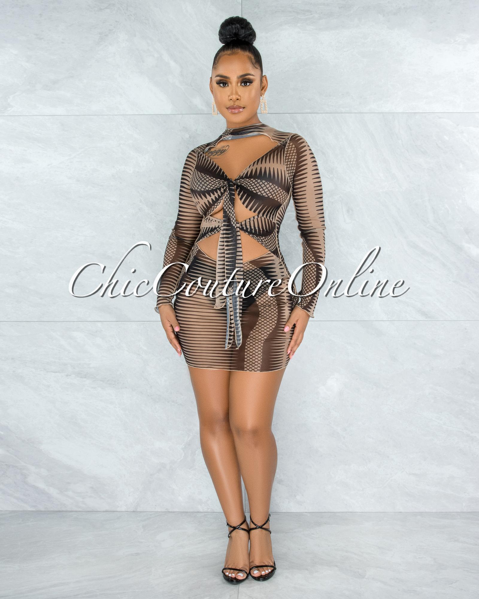 Amparo Black Nude Sheer Mesh Front Tie Straps Dress