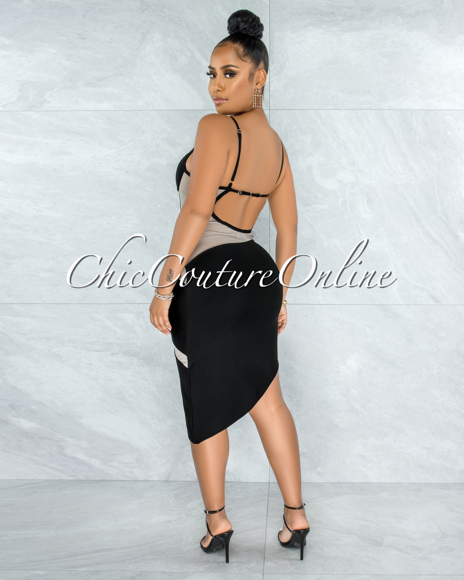 Elfrida Black Nude Mesh Accent Asymmetrical Hem Bandage Dress