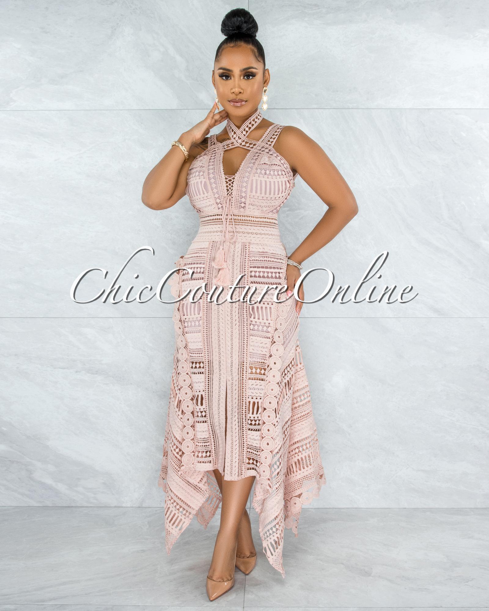 Elizabella Blush Crochet Embroidery Asymmetrical Hem Midi Dress