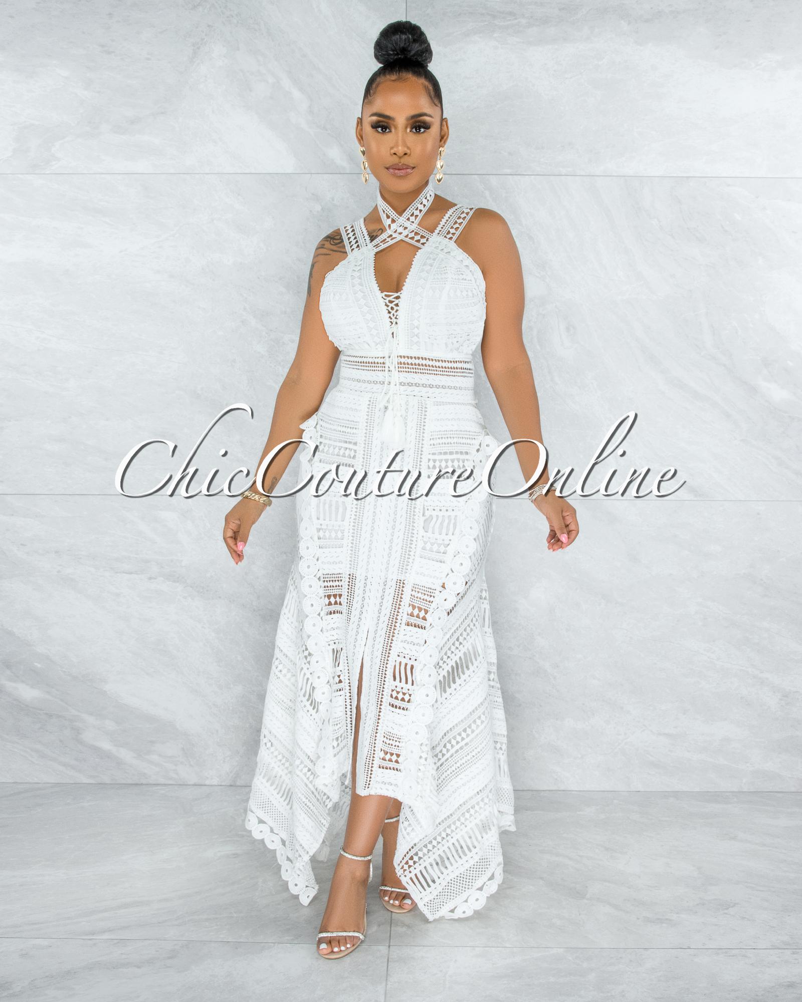 Elizabella Off-White Crochet Embroidery Asymmetrical Hem Midi Dress