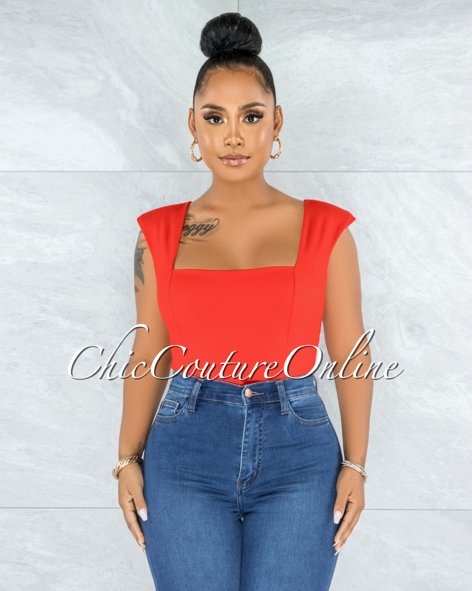 Makelina Red Padded Shoulders Bodysuit