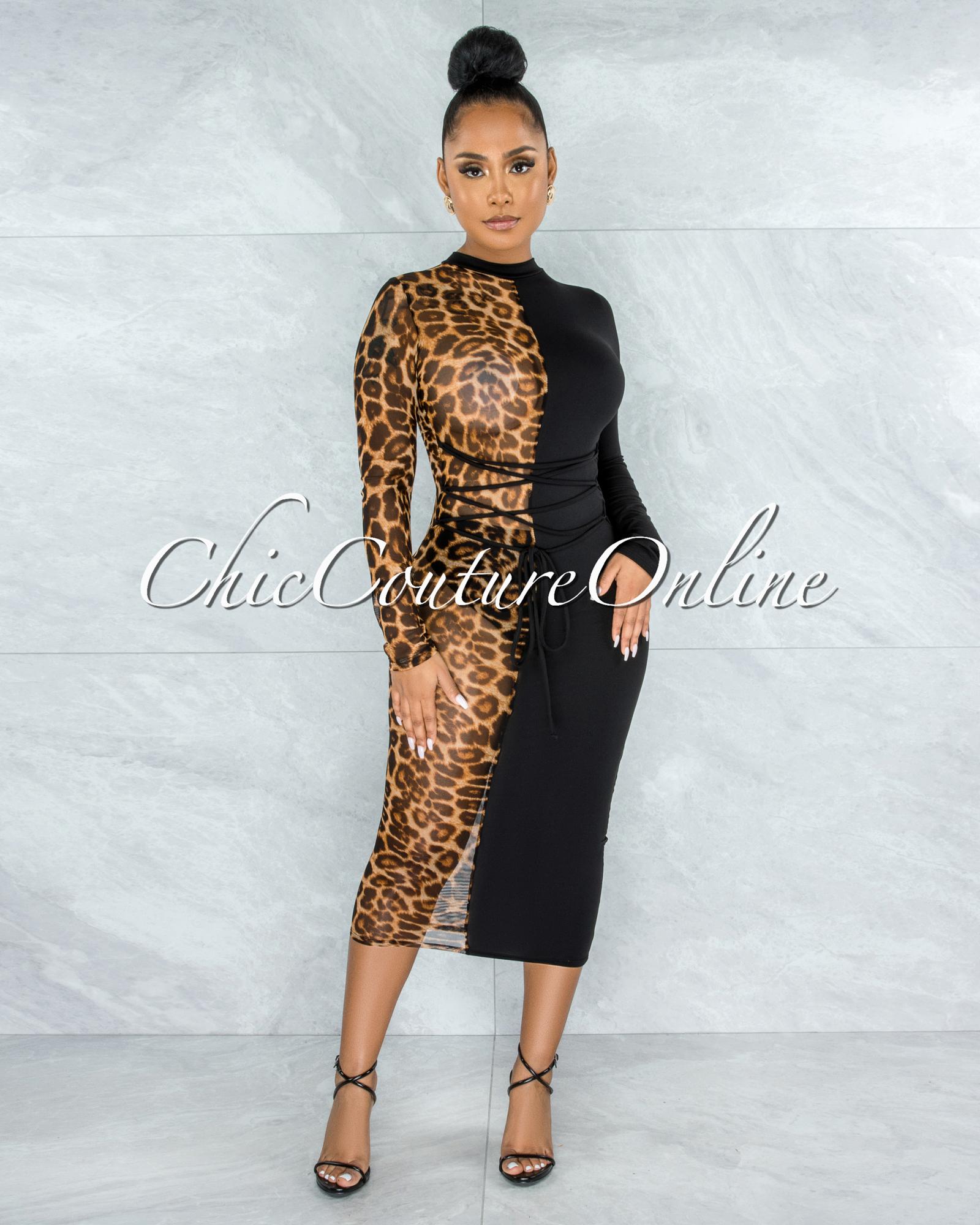 Haji Black Leopard Two-Tones Lace-Up Dress