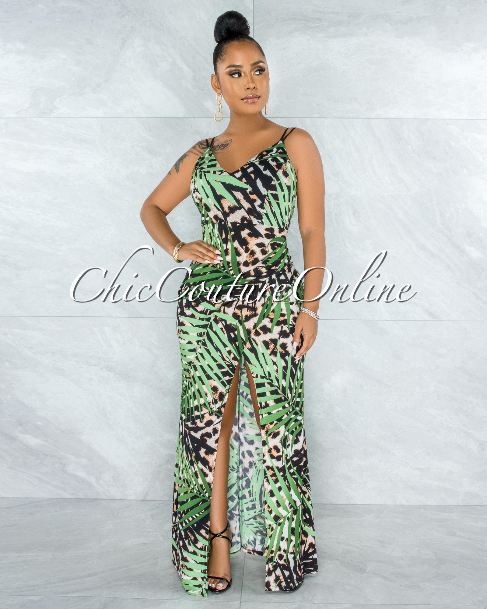 Oscar Leopard Green Leaf Print Side Slit Maxi Dress
