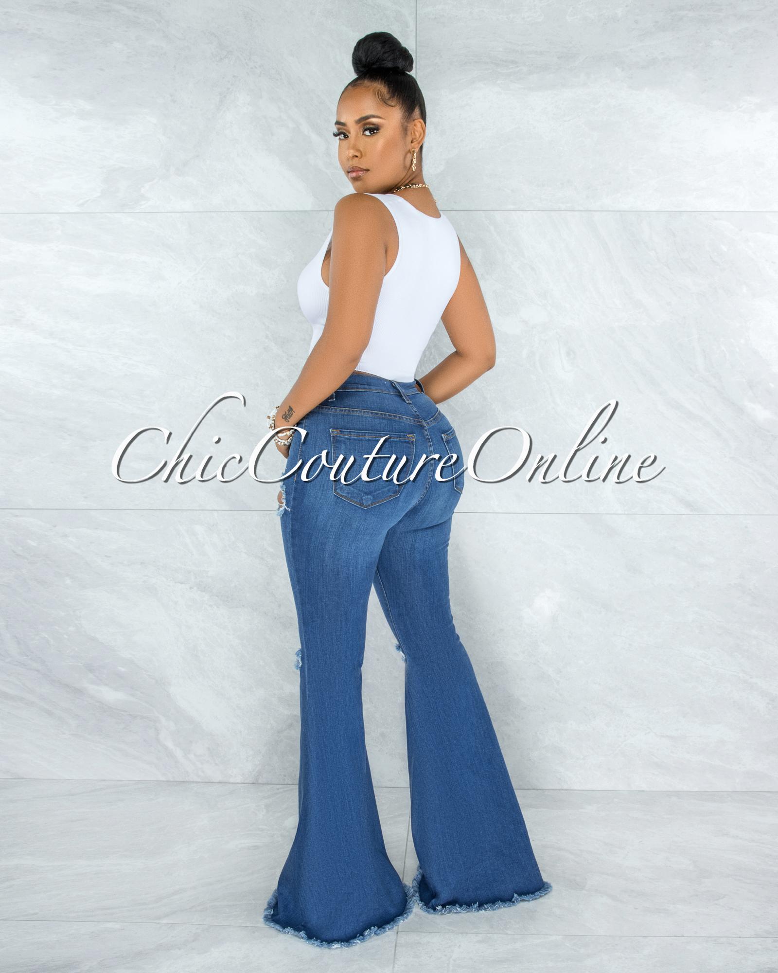 Morley Medium Blue Denim High Waist Bell Legs Jeans