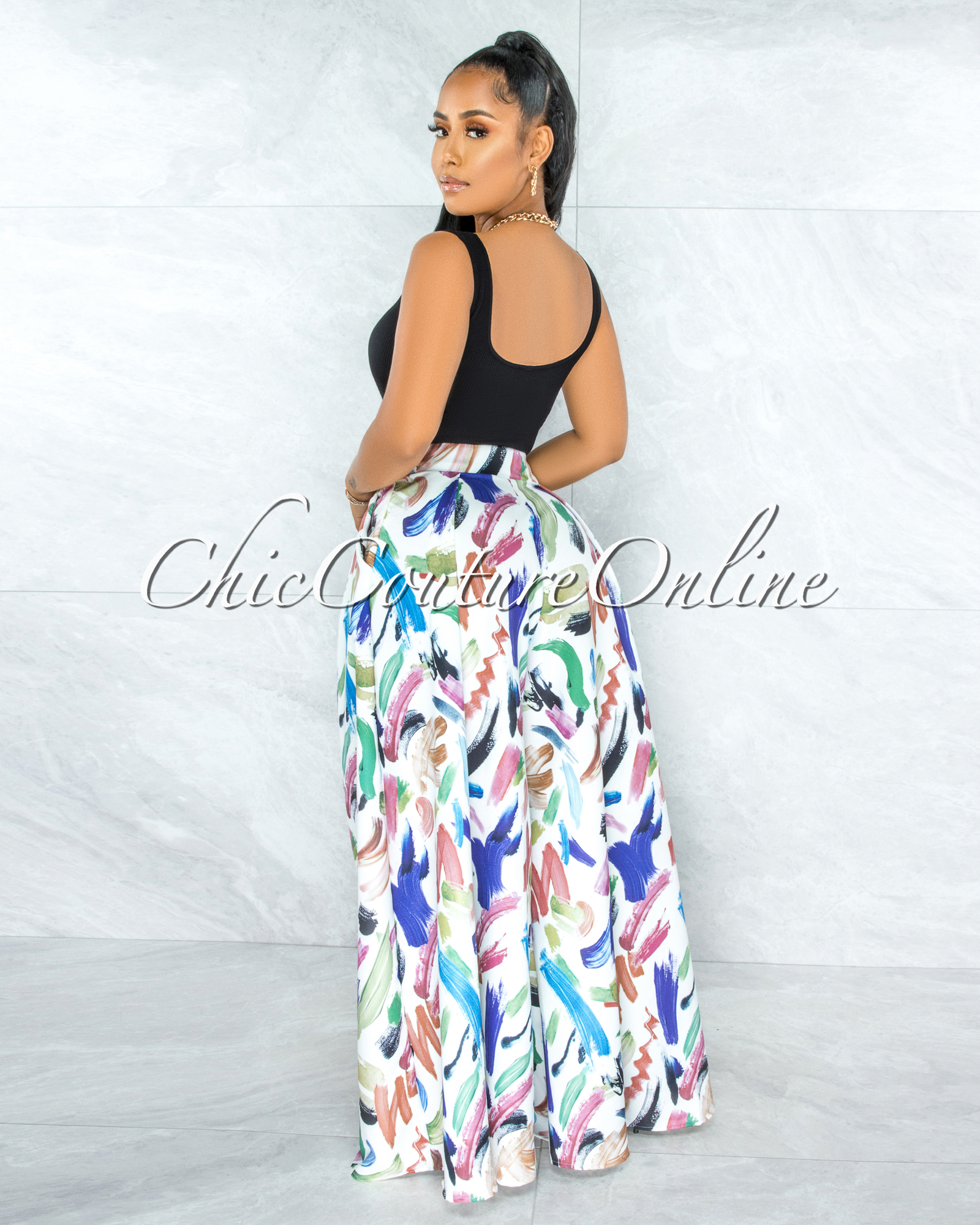 Shada White Multi-Color Artistic Print Pleated Wide Pants
