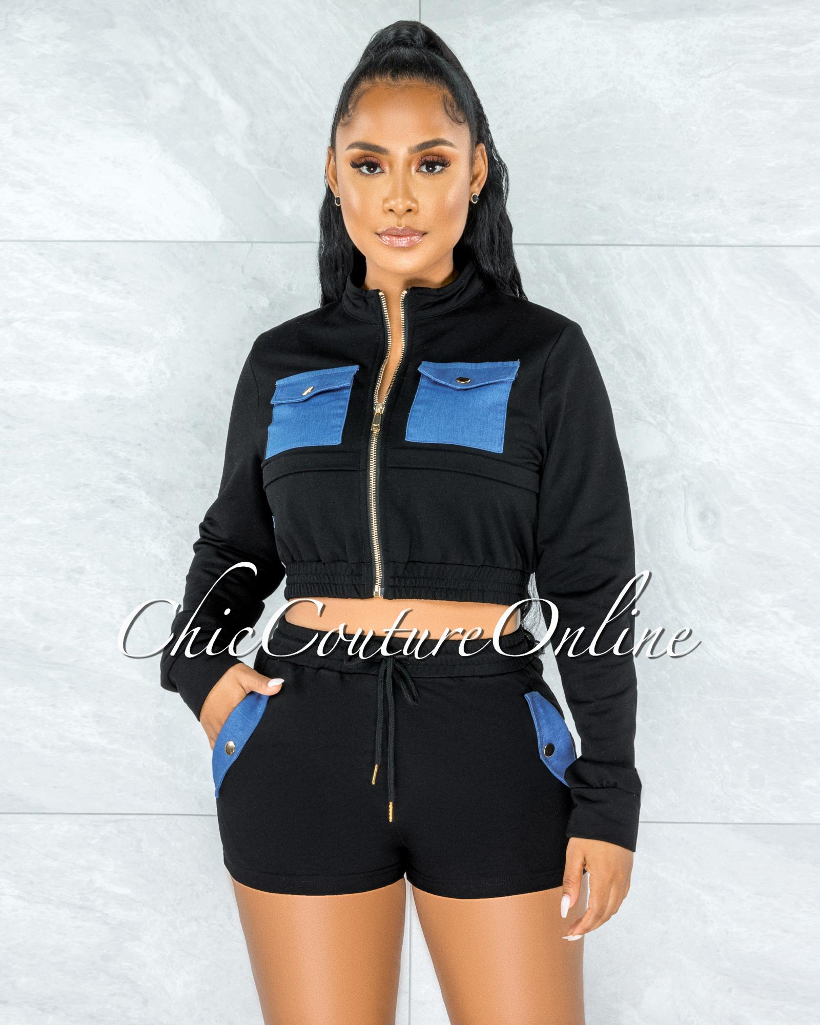 Krishen Black Denim Pockets Sweater Shorts Two Piece Set