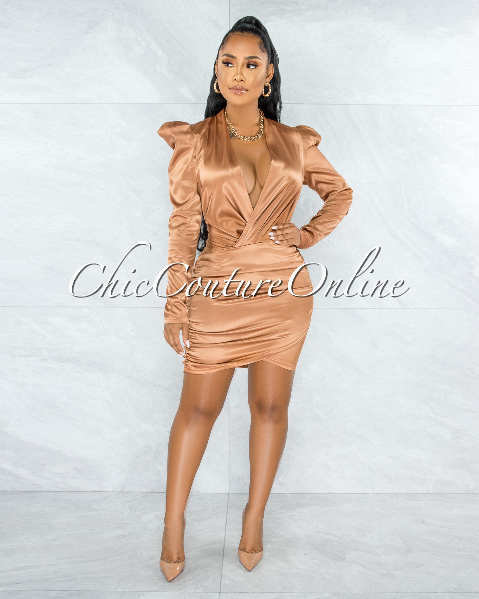 Flamina Bronze V-Neck Draped Satin Dress