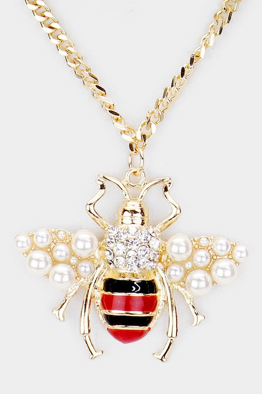 Katy Gold Pearl Honey Bee Pendant Chain Layered Necklace