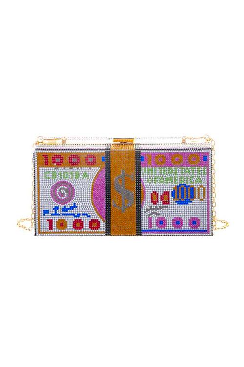 CashMoney Pink Accent Rhinestones Clutch Bag
