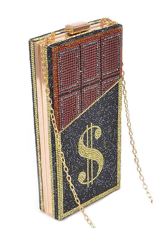 CashMoney Red Accent Rhinestones Clutch Bag