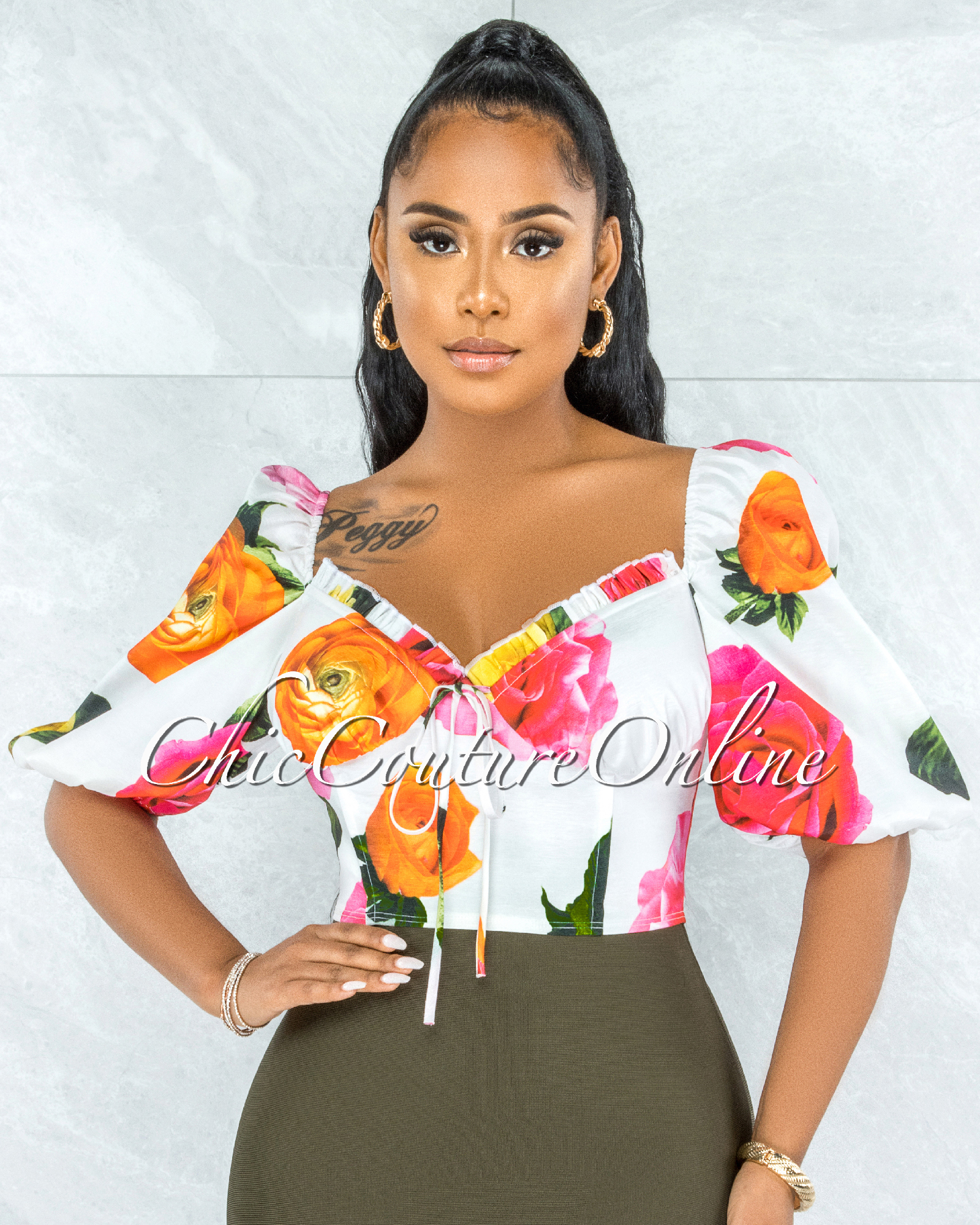 Destry White Floral Print Bubble Sleeves Crop Top