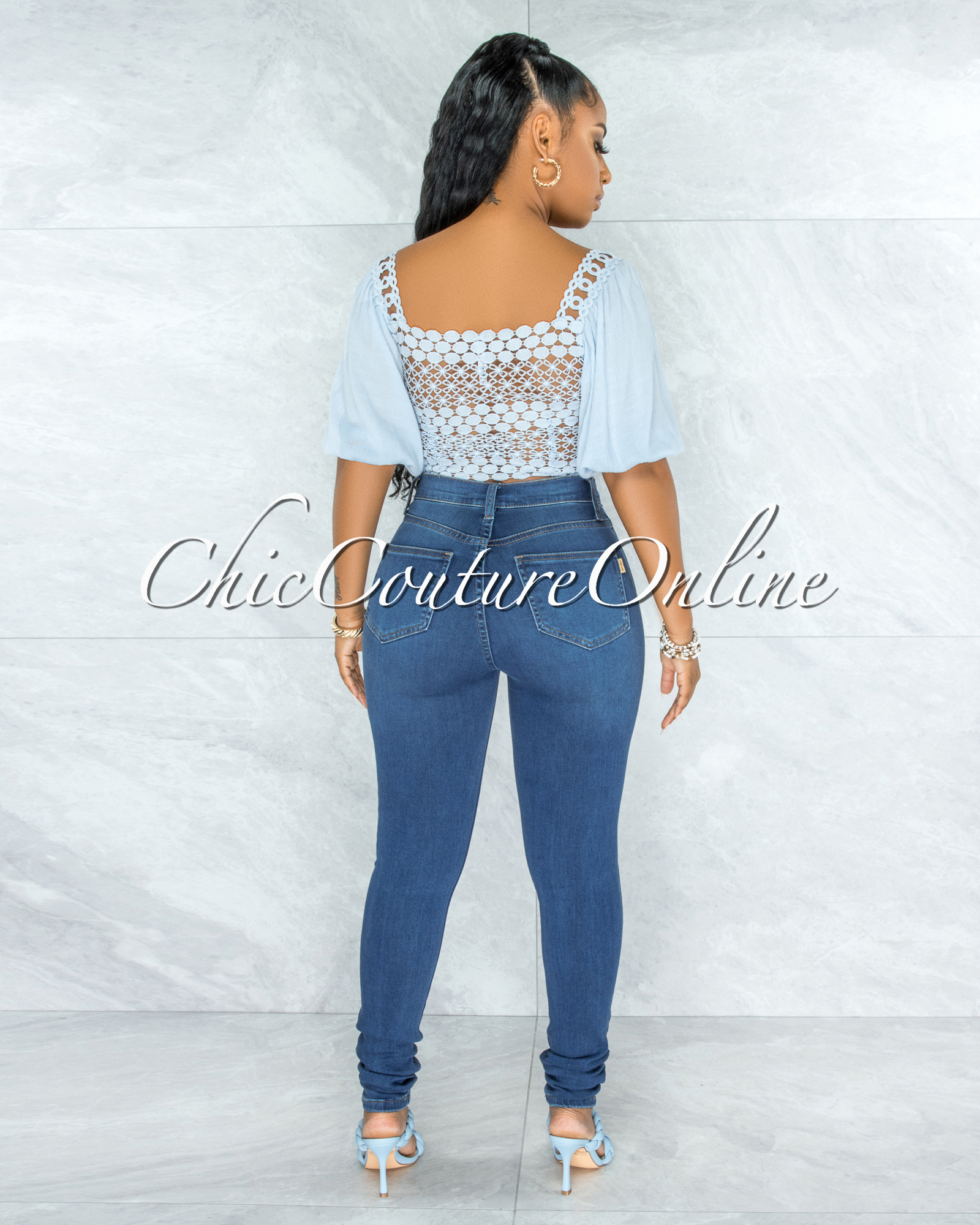 Larrie Baby Blue Crochet Front Lace-Up Crop Top