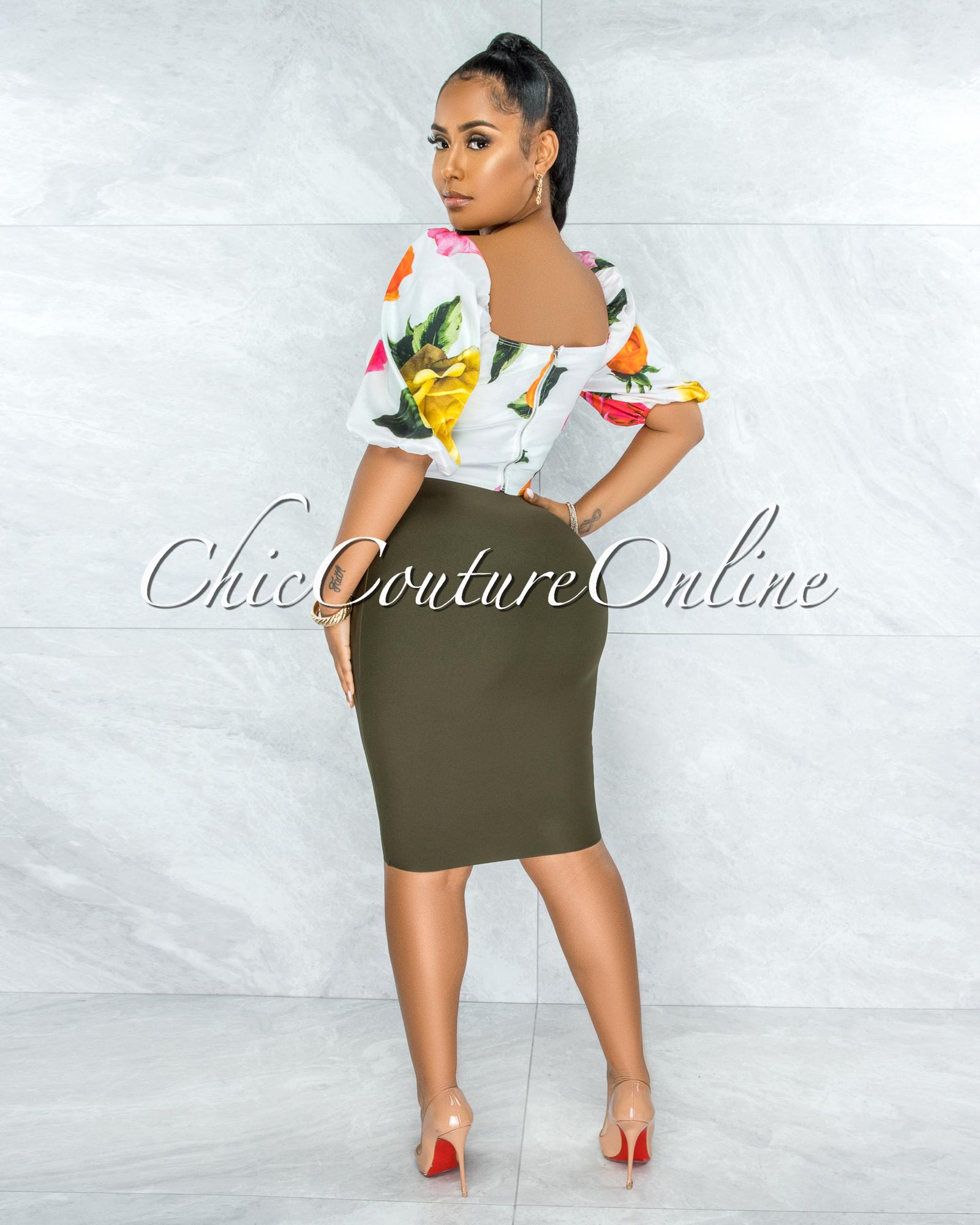 Joseph Olive Green Elastic Bandage Skirt