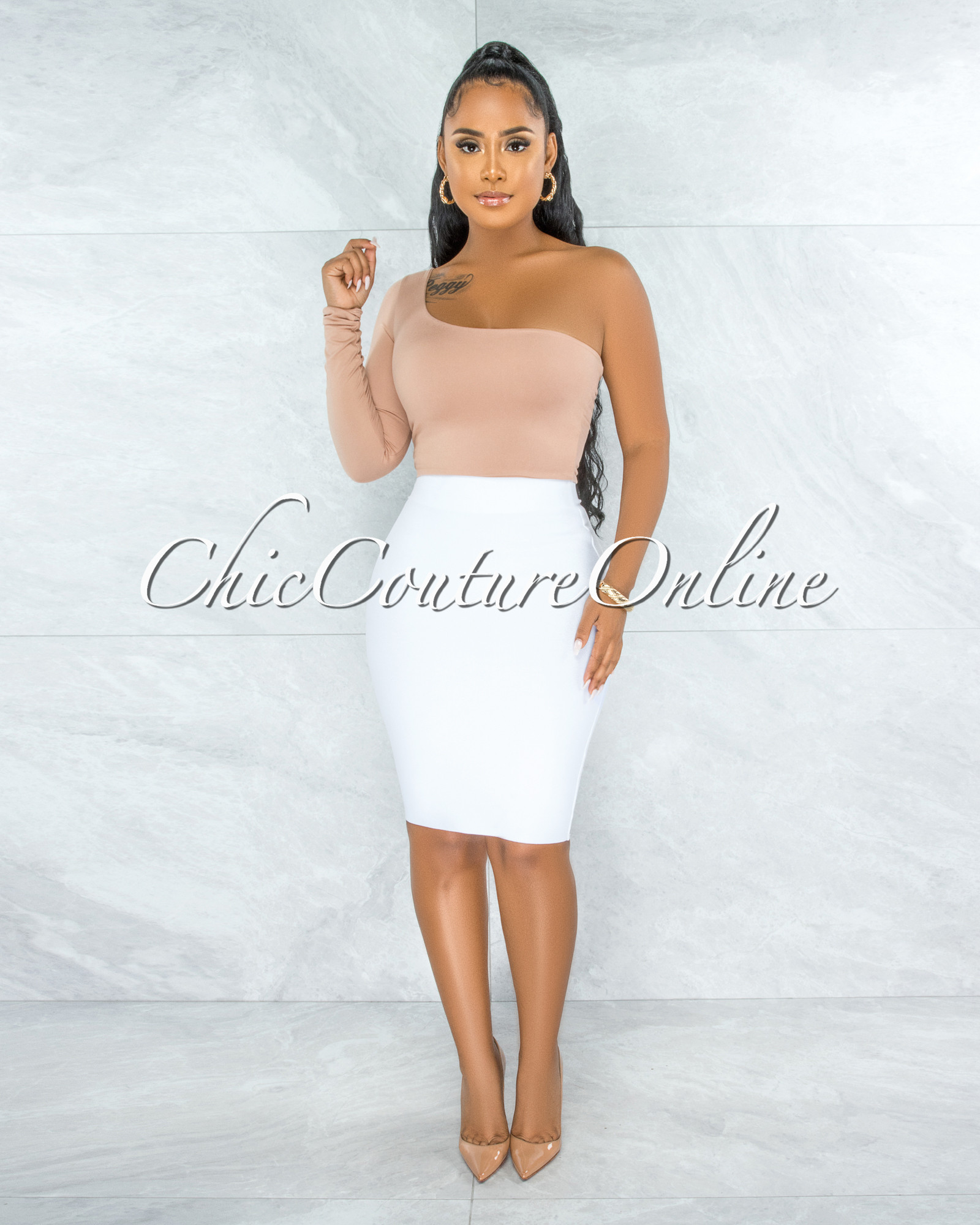 Joseph Off-White Elastic Bandage Skirt