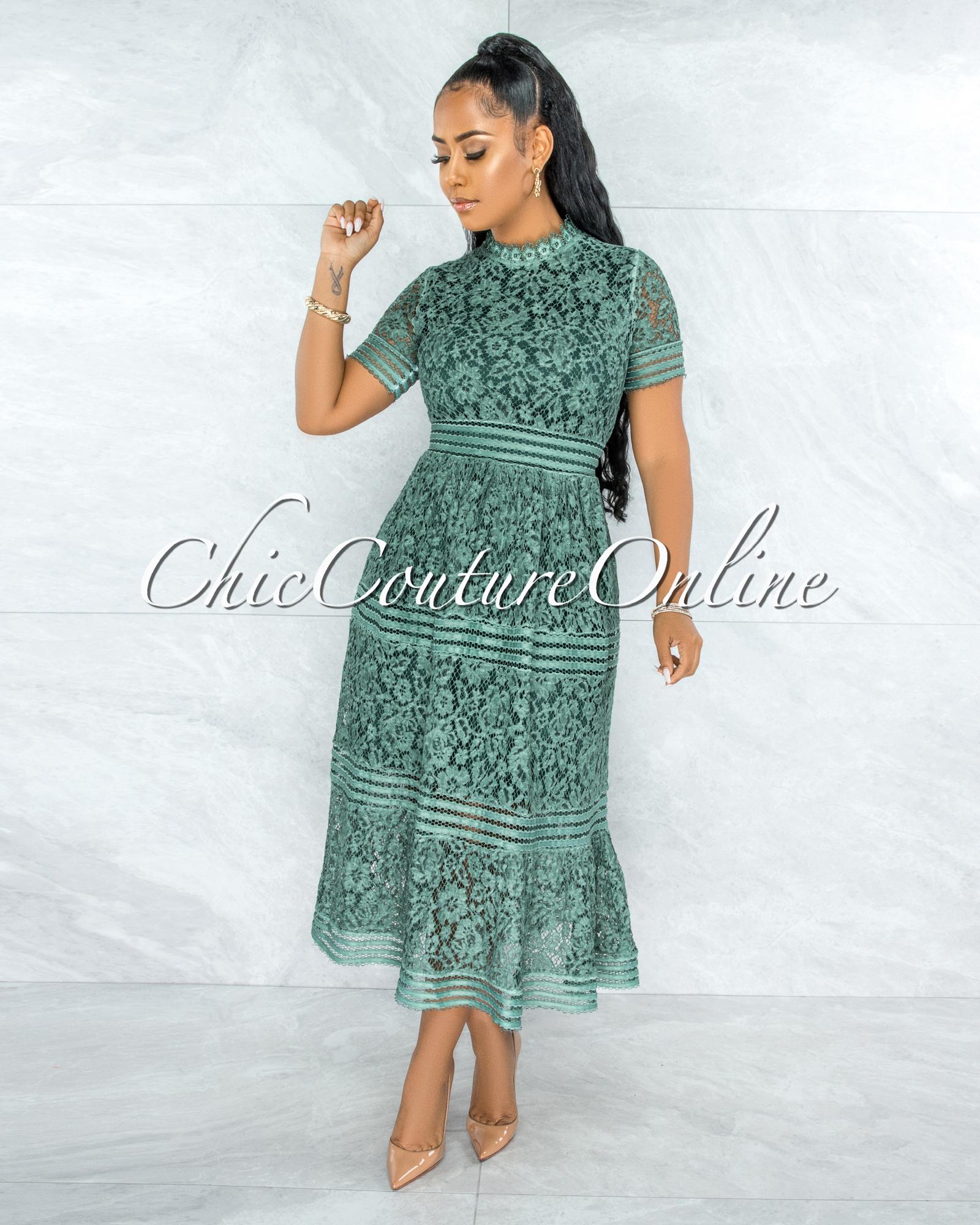 Feather Sage Green Lace Midi Dress