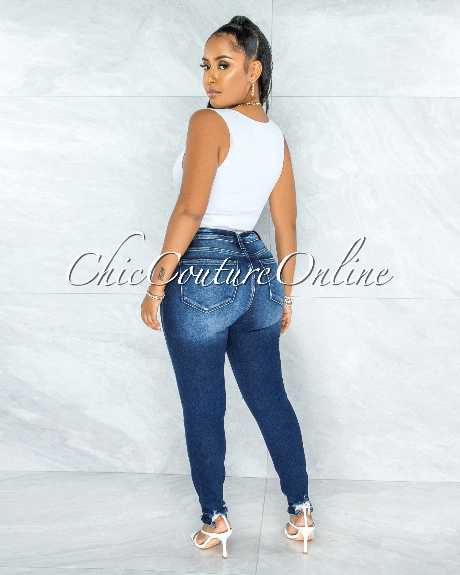 Petra Dark Denim Washed Distressed Skinny Jeans