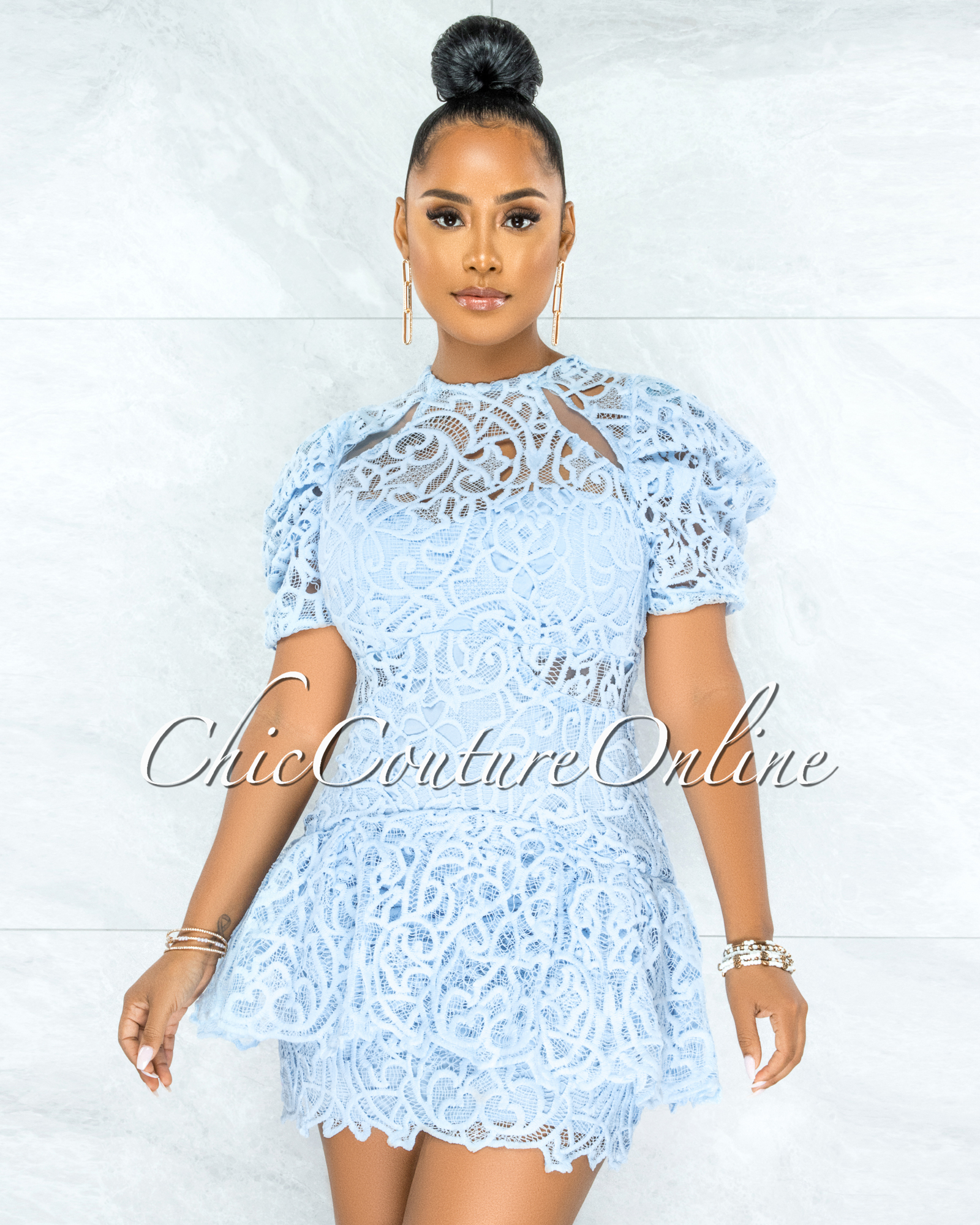 Samelia Baby Blue Crochet Embroidery Ruffle Skater Dress