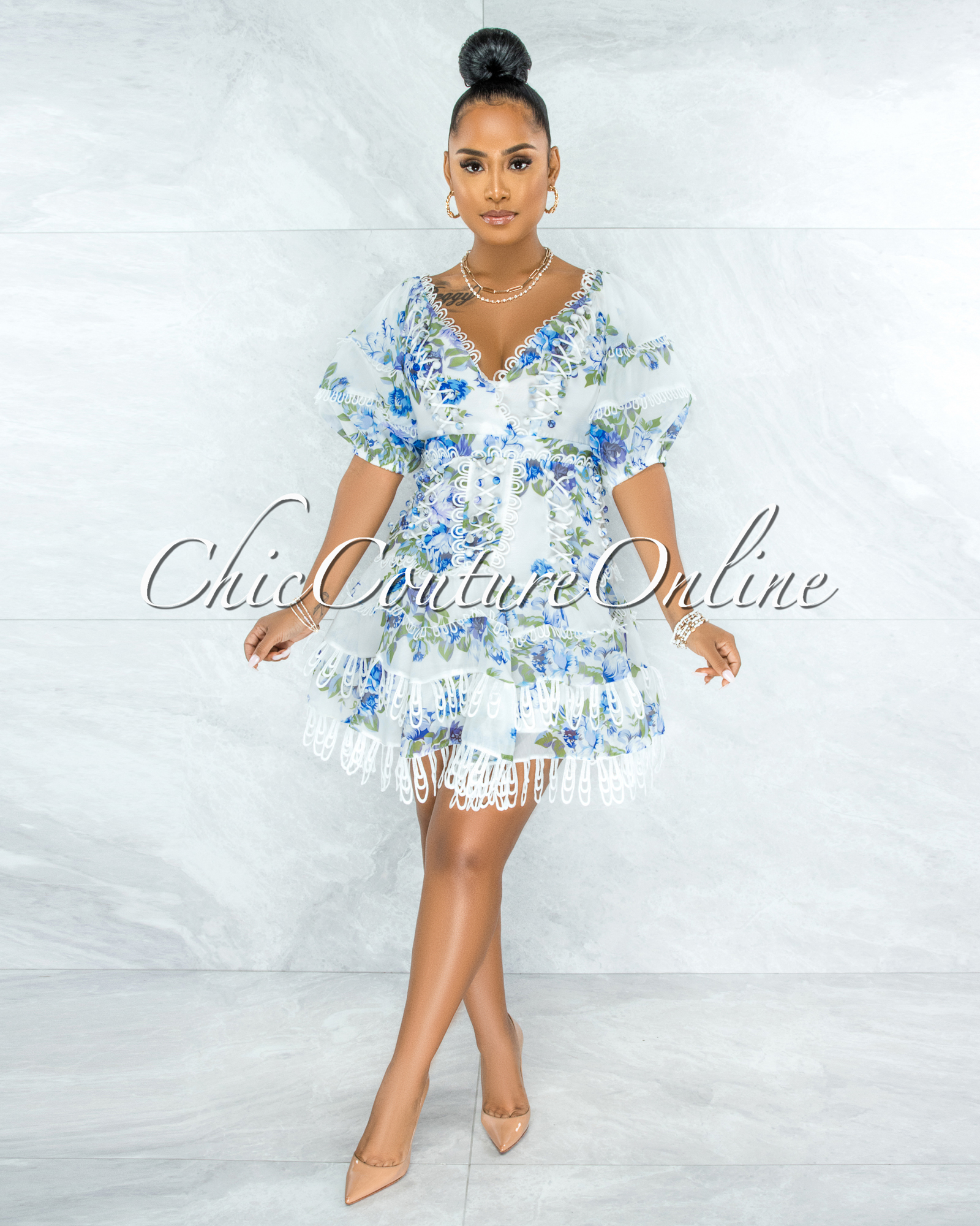 Bahia White Blue Floral Embroidery Ruffle Skater Dress