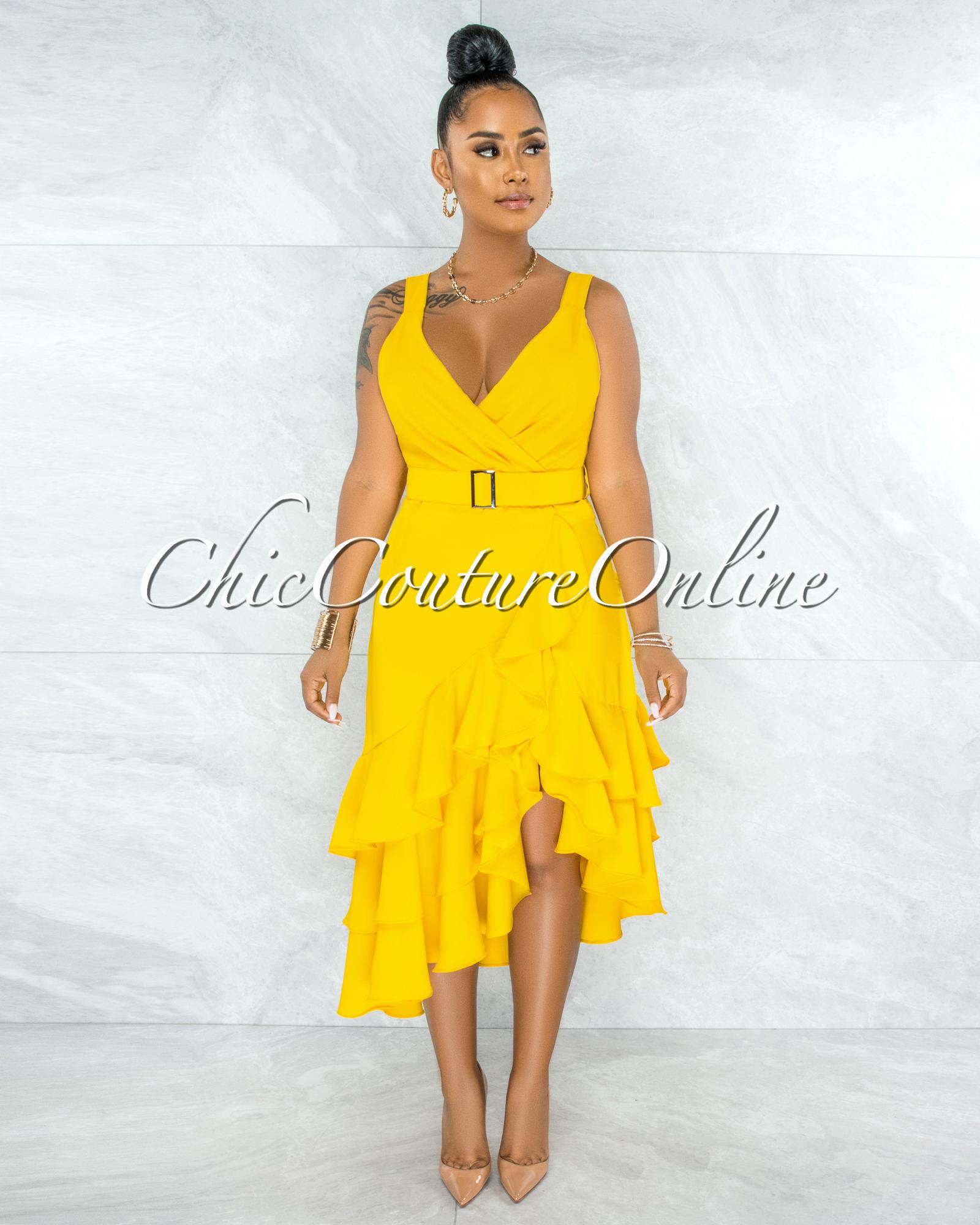 Elena Yellow V-Neck Matching Belt Ruffle Hem Mini Dress
