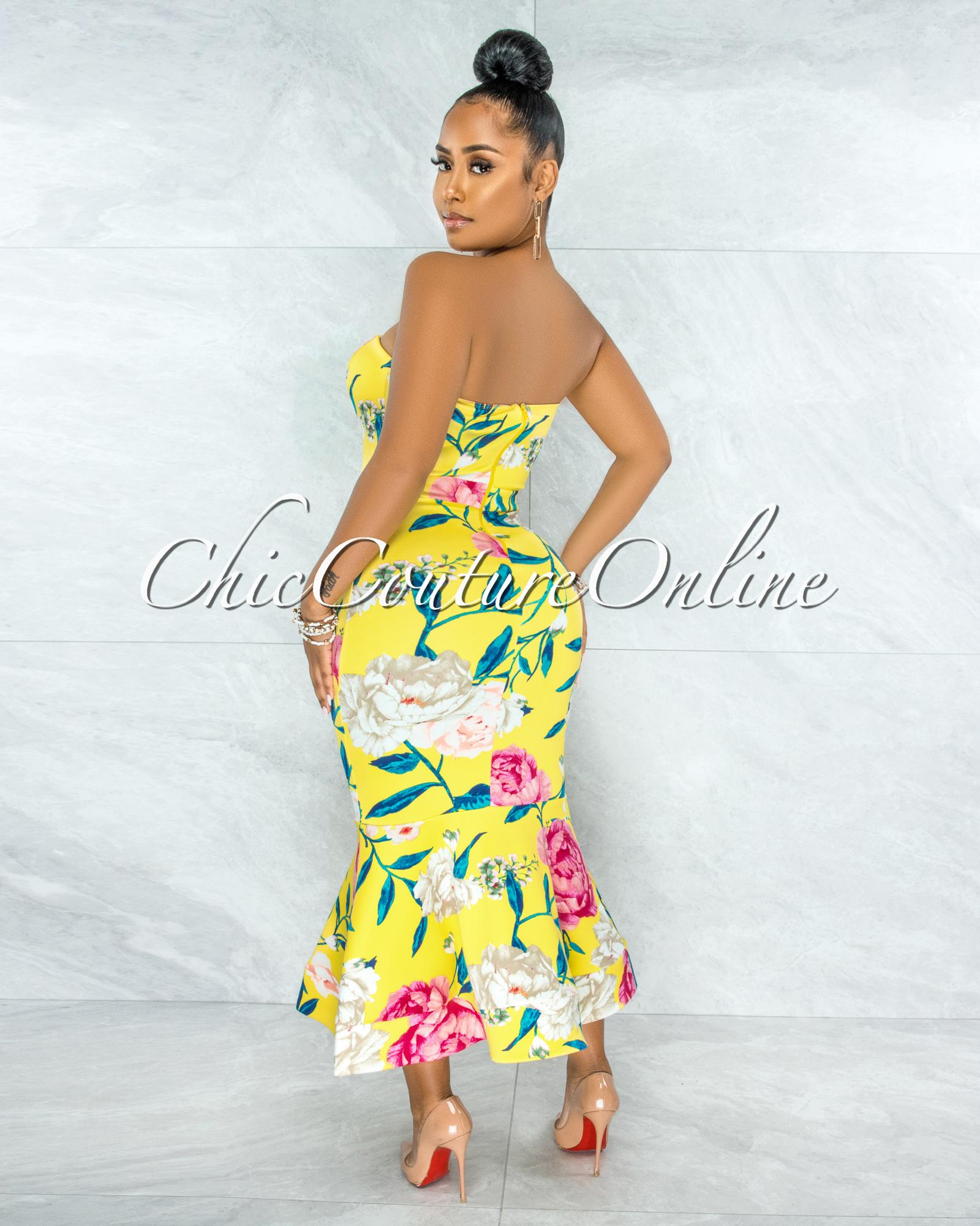 Katoya Yellow Floral Print Strapless Mermaid Hem Midi Dress