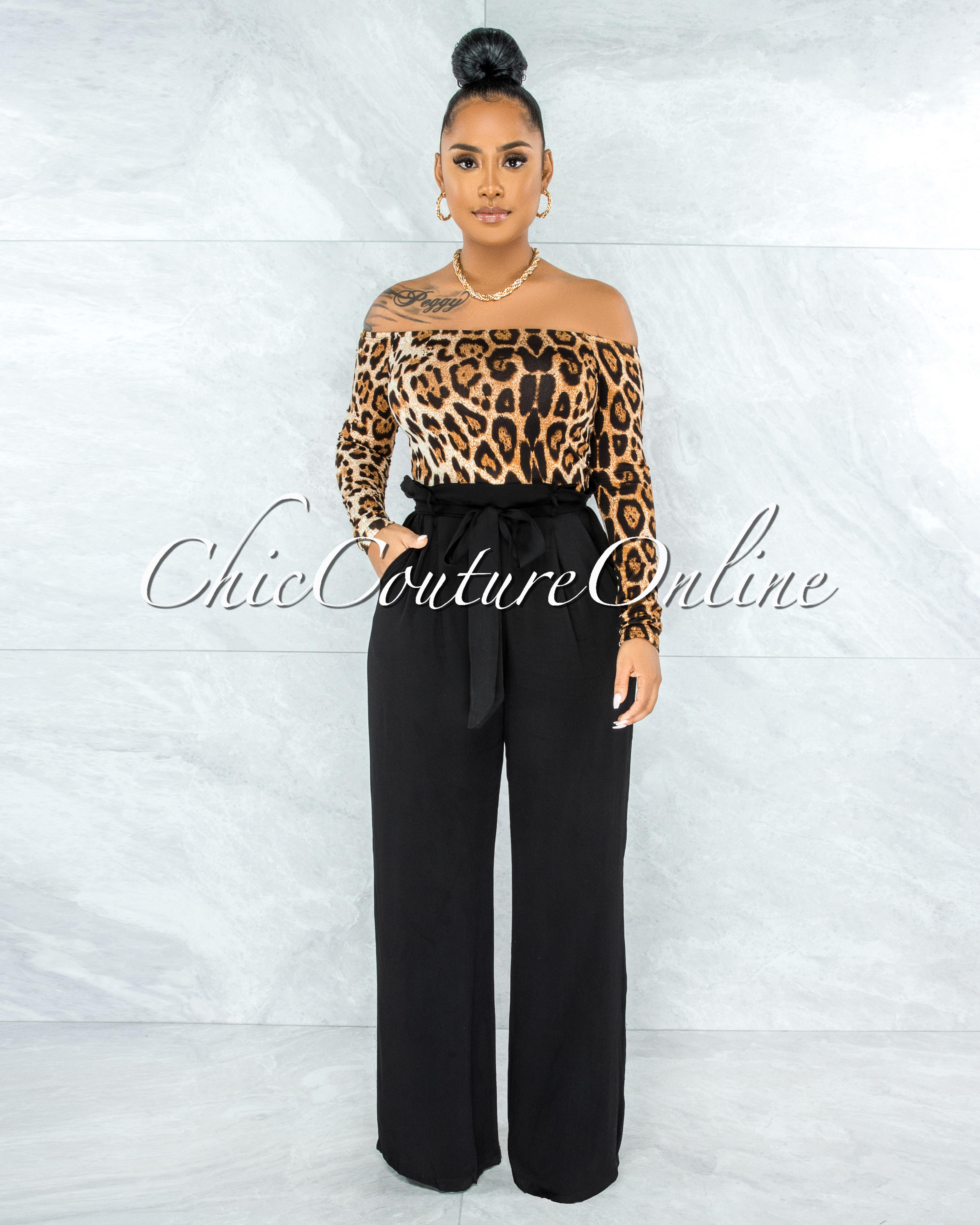 Suelda Leopard Print Top Black Bottom Two-Tone Jumpsuit