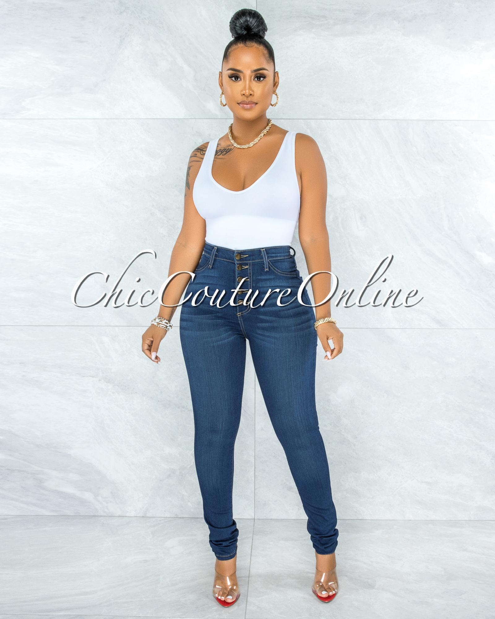 Phina Dark Denim Button Up High Waist Skinny Jeans