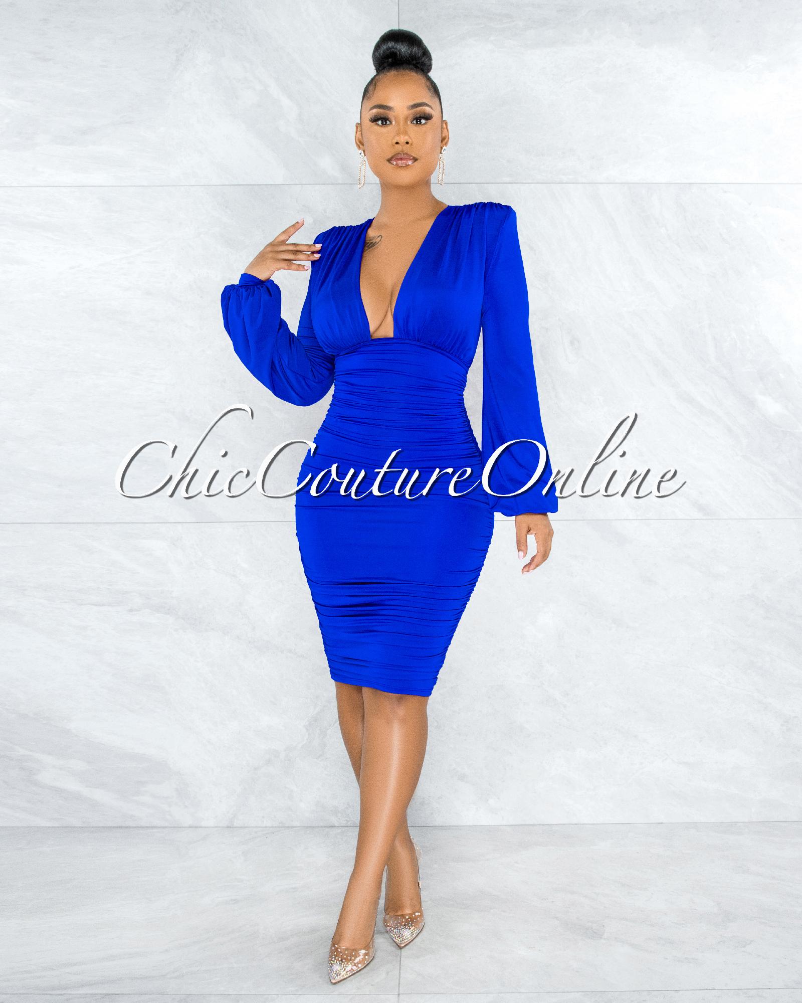 Veata Royal-Blue Ruched Sides Deep-V Neckline Midi Dress