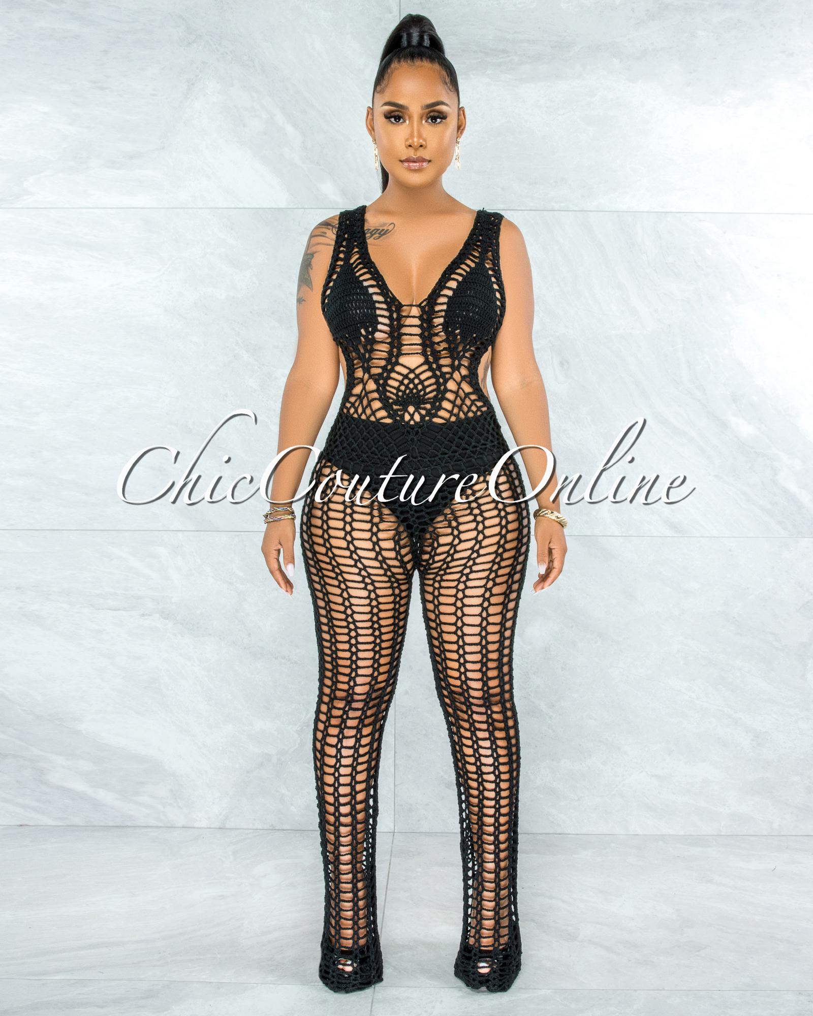 Tayo Black Crochet Cover-Up Net Jumpsuit