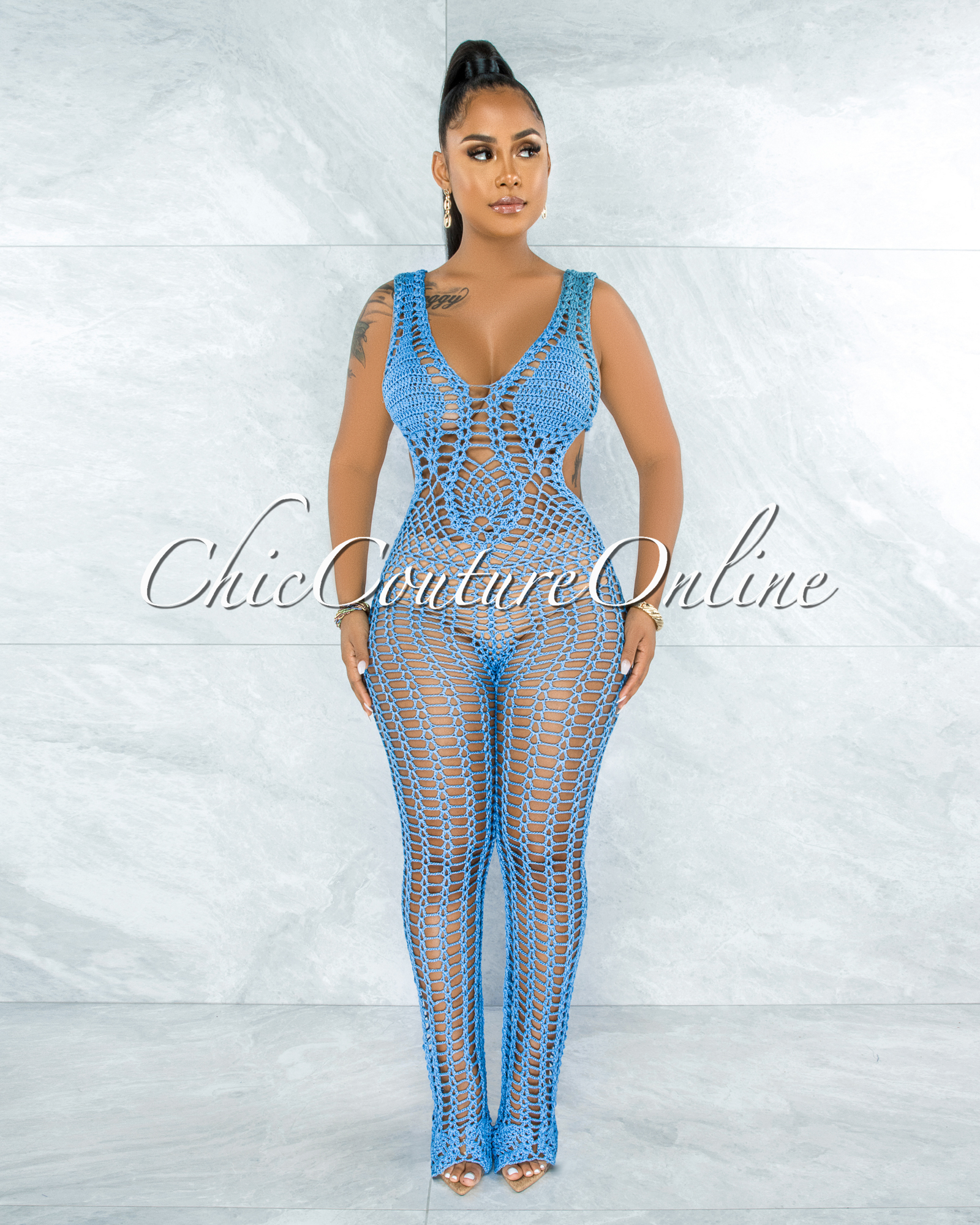 Tayo Blue Crochet Cover-Up Net Jumpsuit