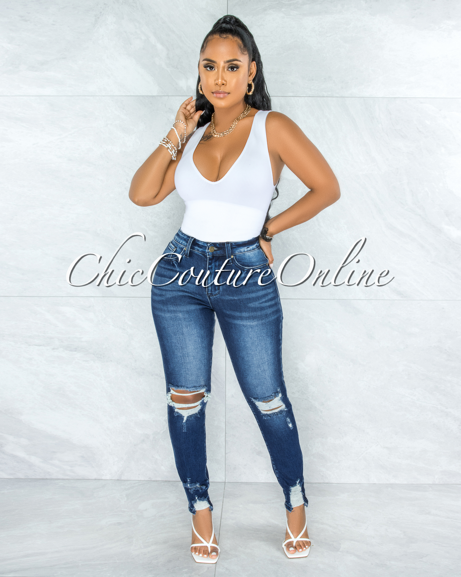 Petra Dark Denim Washed Distressed CURVACEOUS Jeans