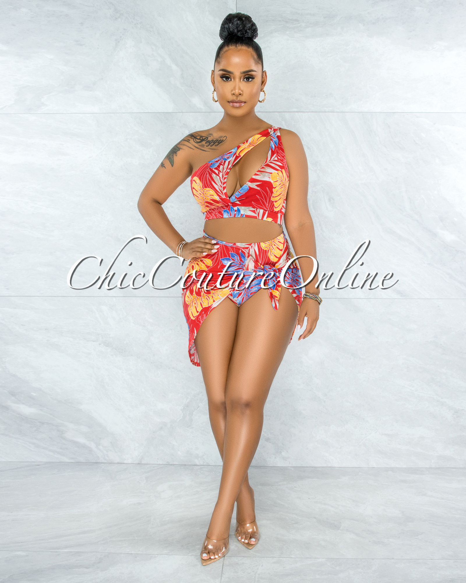 Khatun Red Leaf Print Cut-Out Top & Bikini Skirt Set