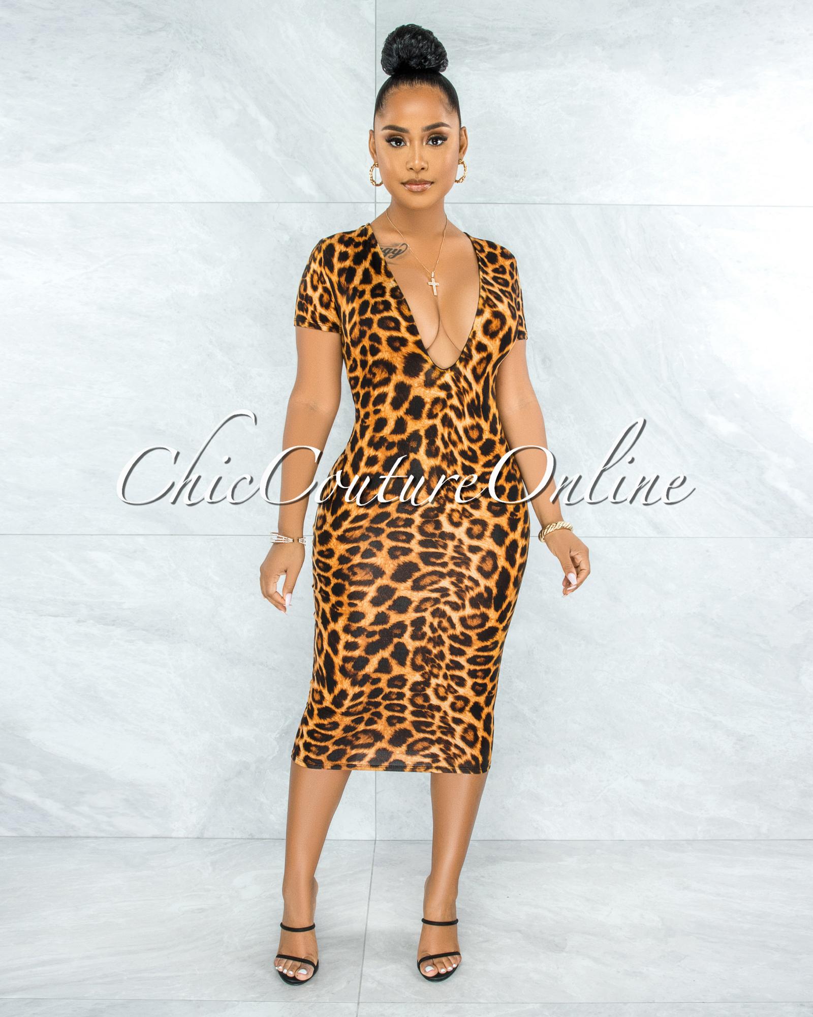 Ronalda Brown Leopard Print Body-Con Midi Dress
