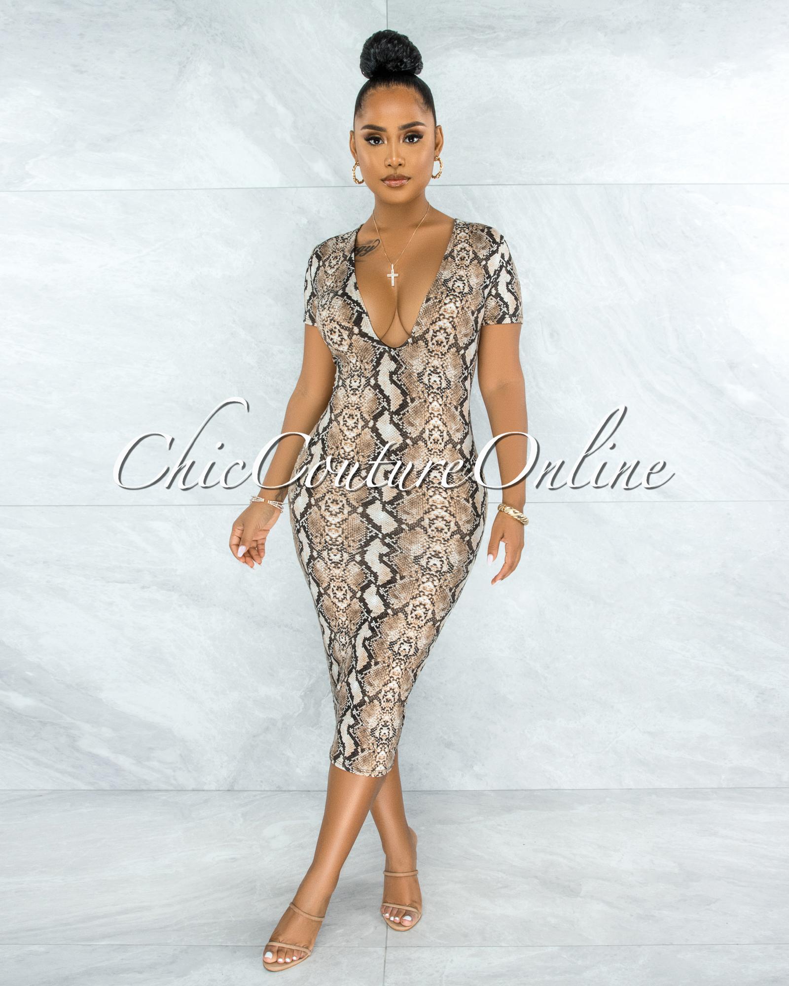 Ronalda Nude Snake Print Body-Con Midi Dress