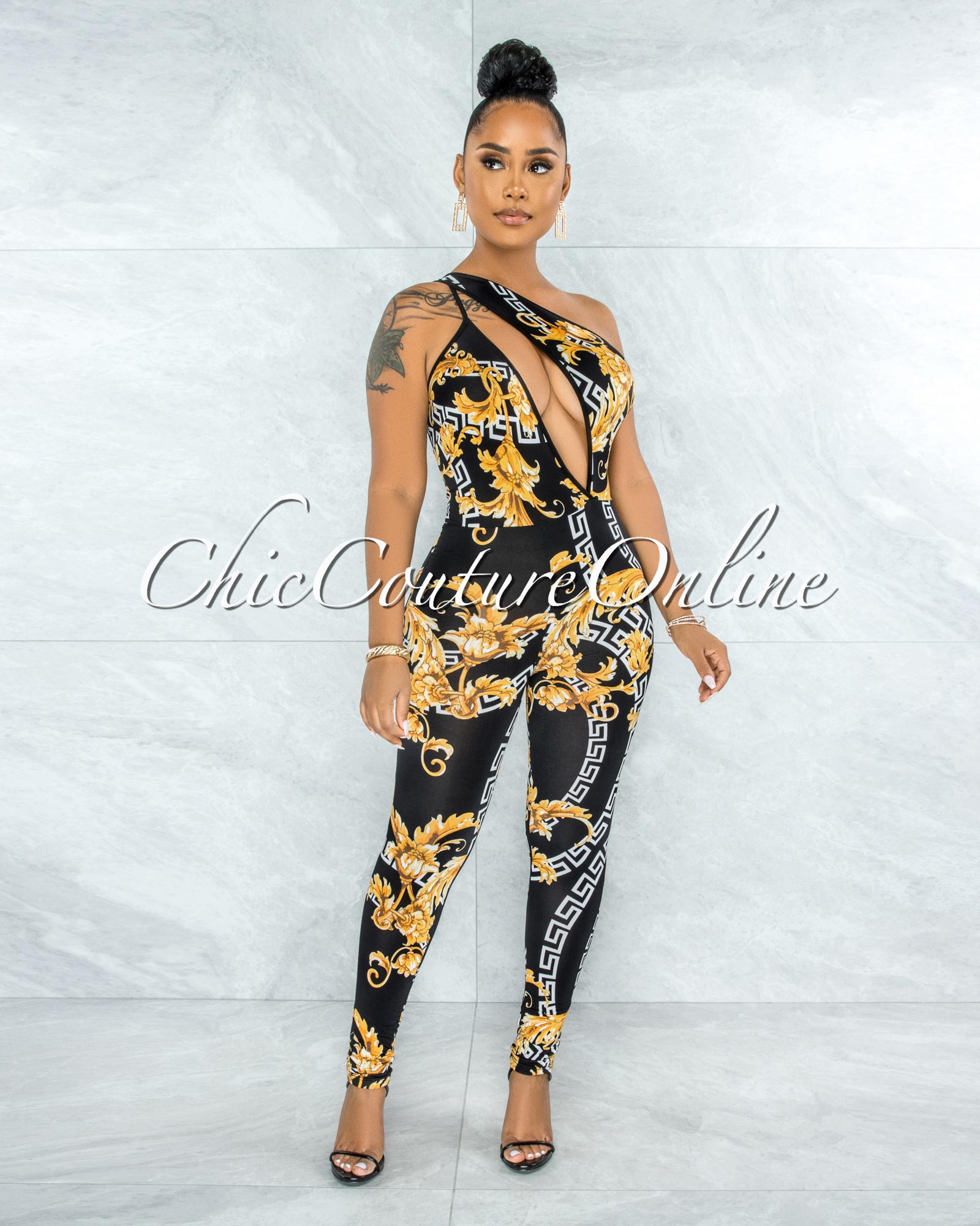 Ohela Black Gold Print Cut-Out Jumpsuit