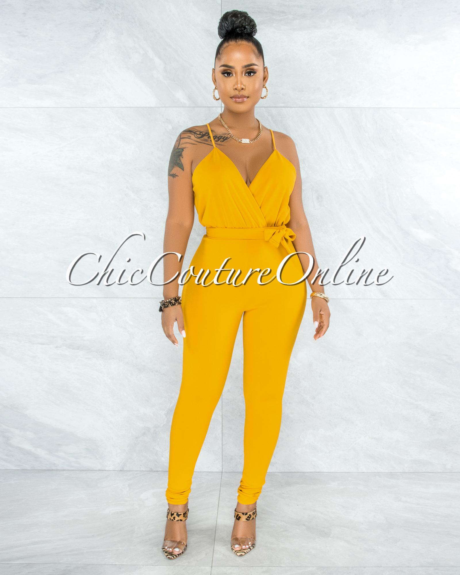 Hasita Mustard Yellow Self-Tie Belt Jumpsuit