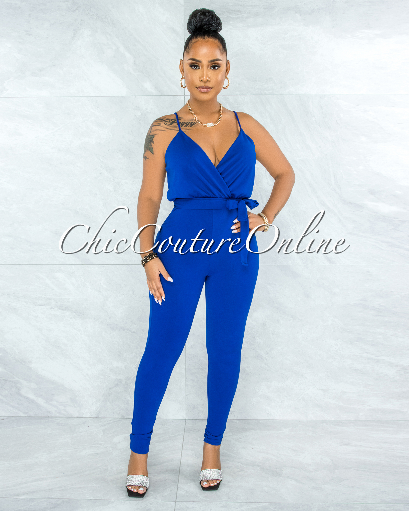 Hasita Royal Blue Self-Tie Belt Jumpsuit