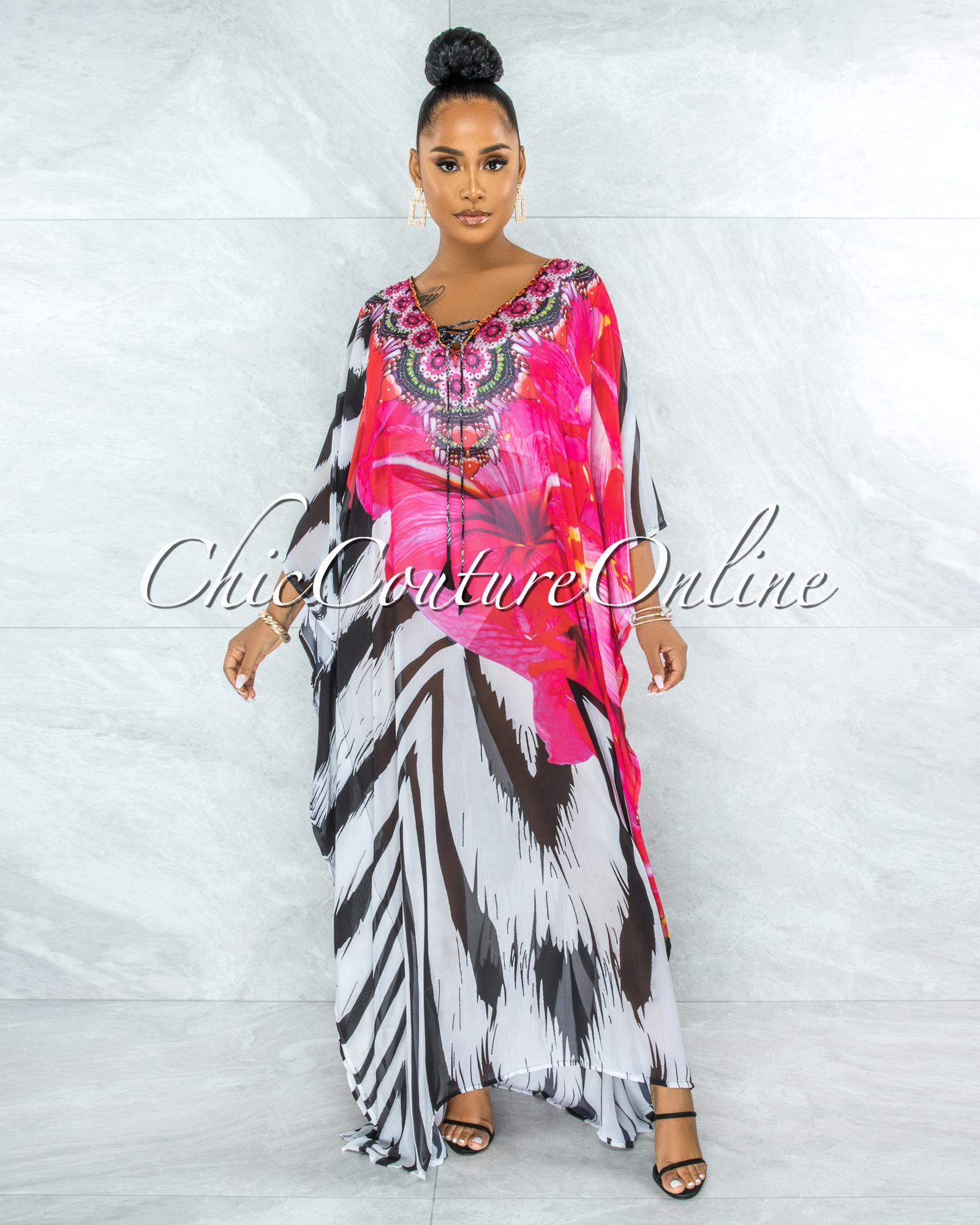 Goajira Black White Fuchsia Floral Kimono Maxi Dress