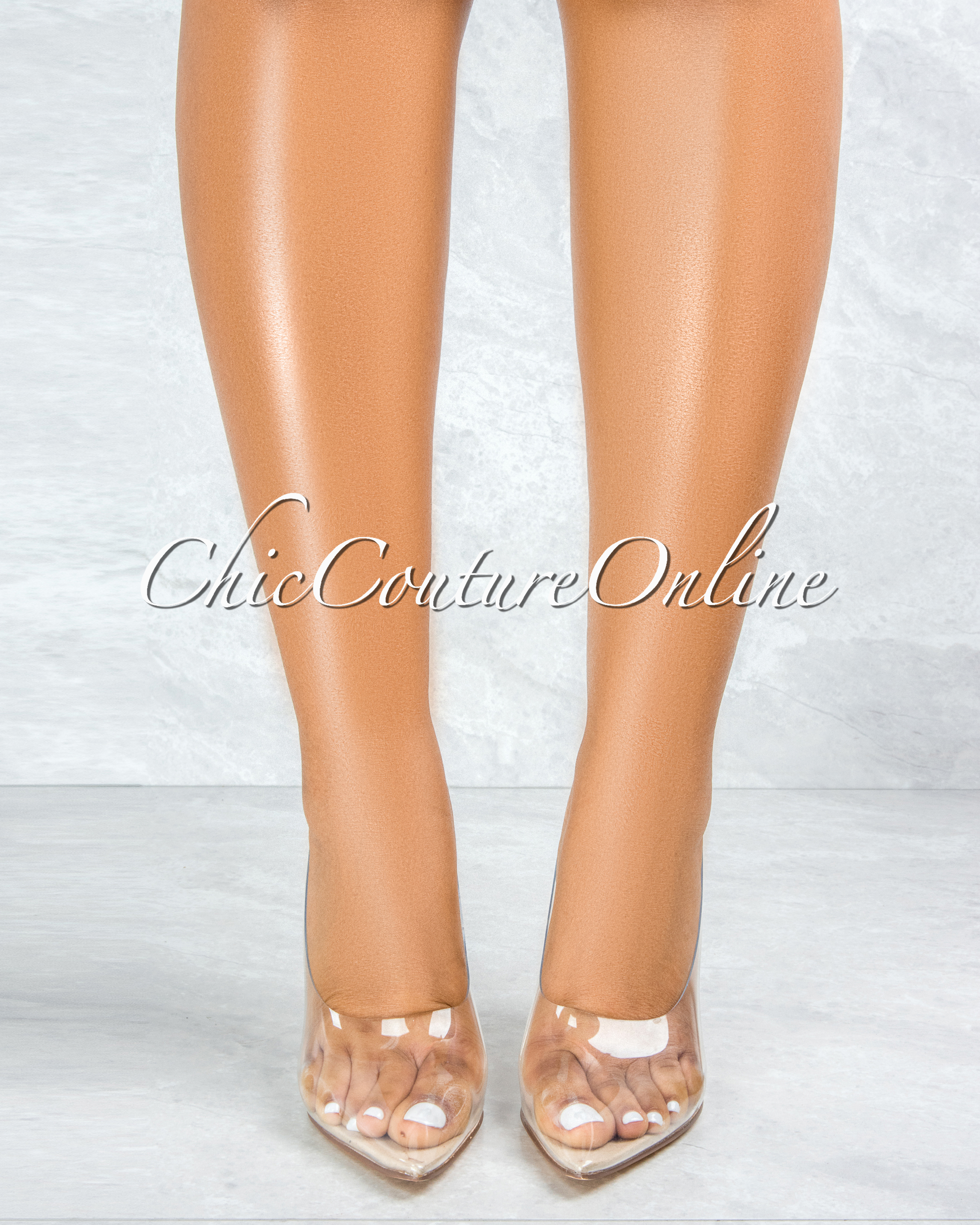 Glass Doll Nude Sole Clear Heel Pumps