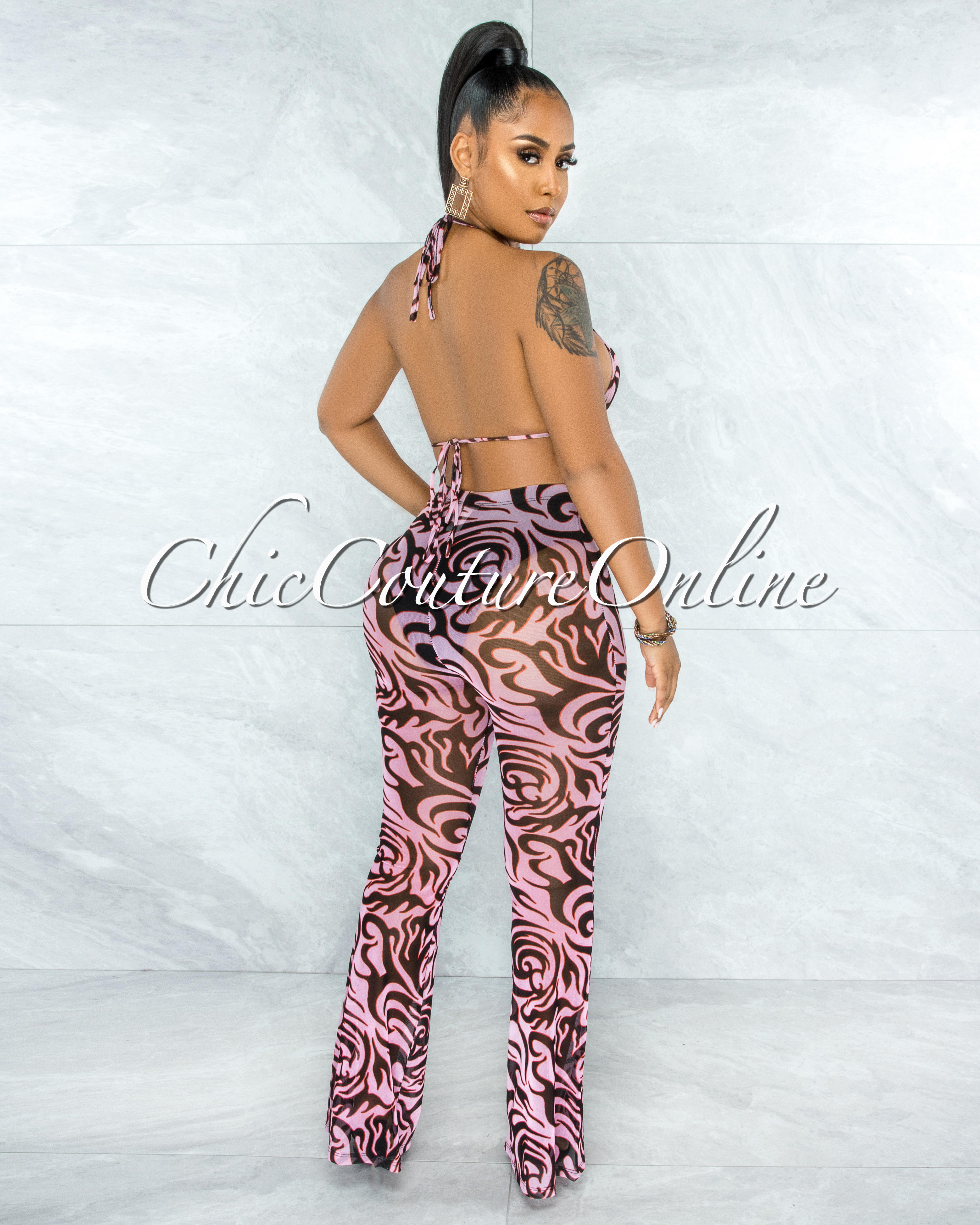 Medeba Pink Black Print Mesh Two Piece Sheer Set