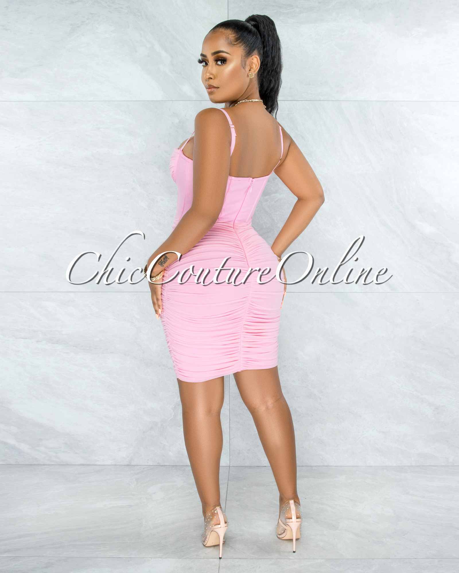 Bassett Pink Mesh Ruched Bandage Corset Midi Dress