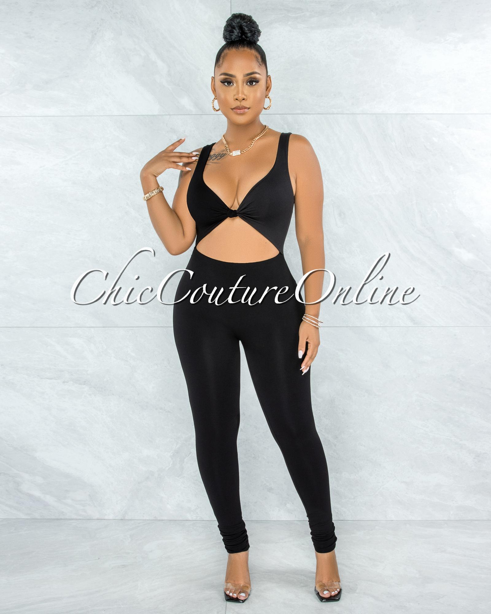 Cierra Black Front Knot Cut-Out Jumpsuit