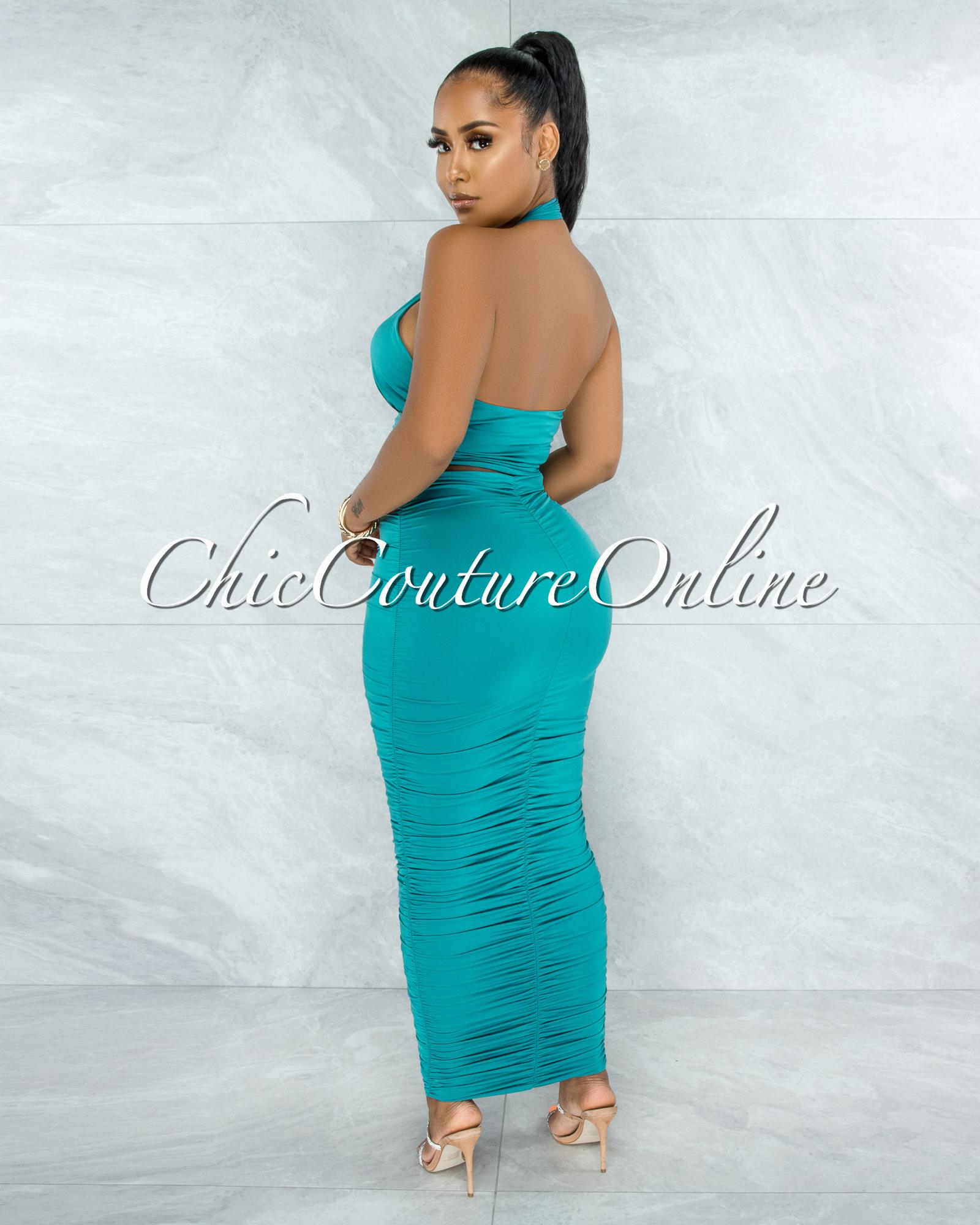Lomasi Jade Halter Top & Pencil Ruched Maxi Skirt Set