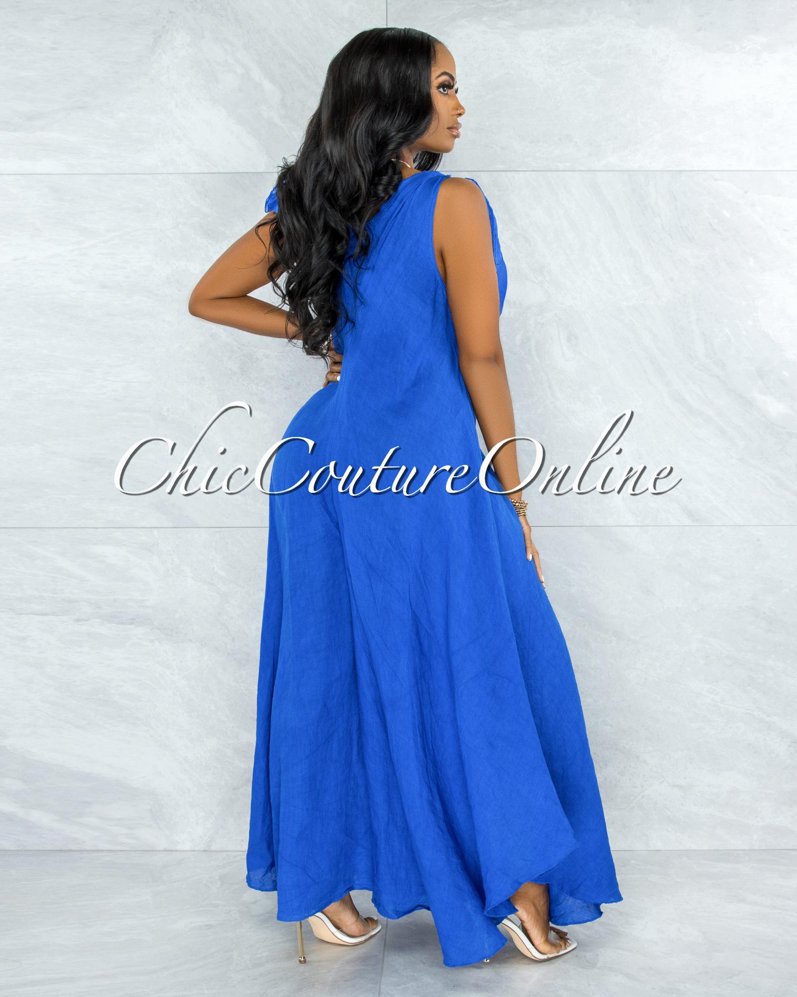 Natalie Royal Blue Shoulders Tie Flare Legs LINEN Jumpsuit