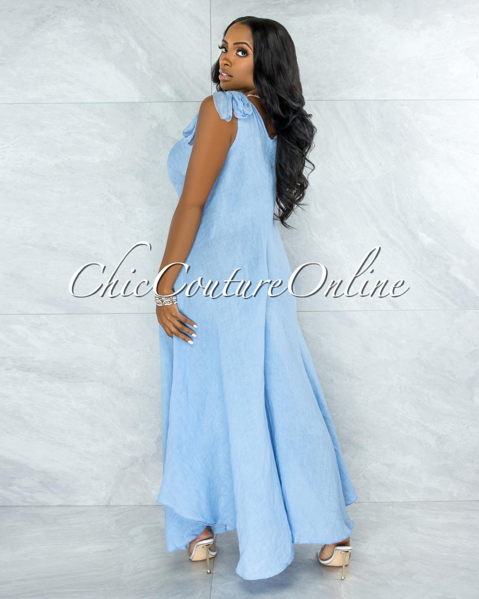 Natalie Baby Blue Shoulders Tie Flare Legs LINEN Jumpsuit