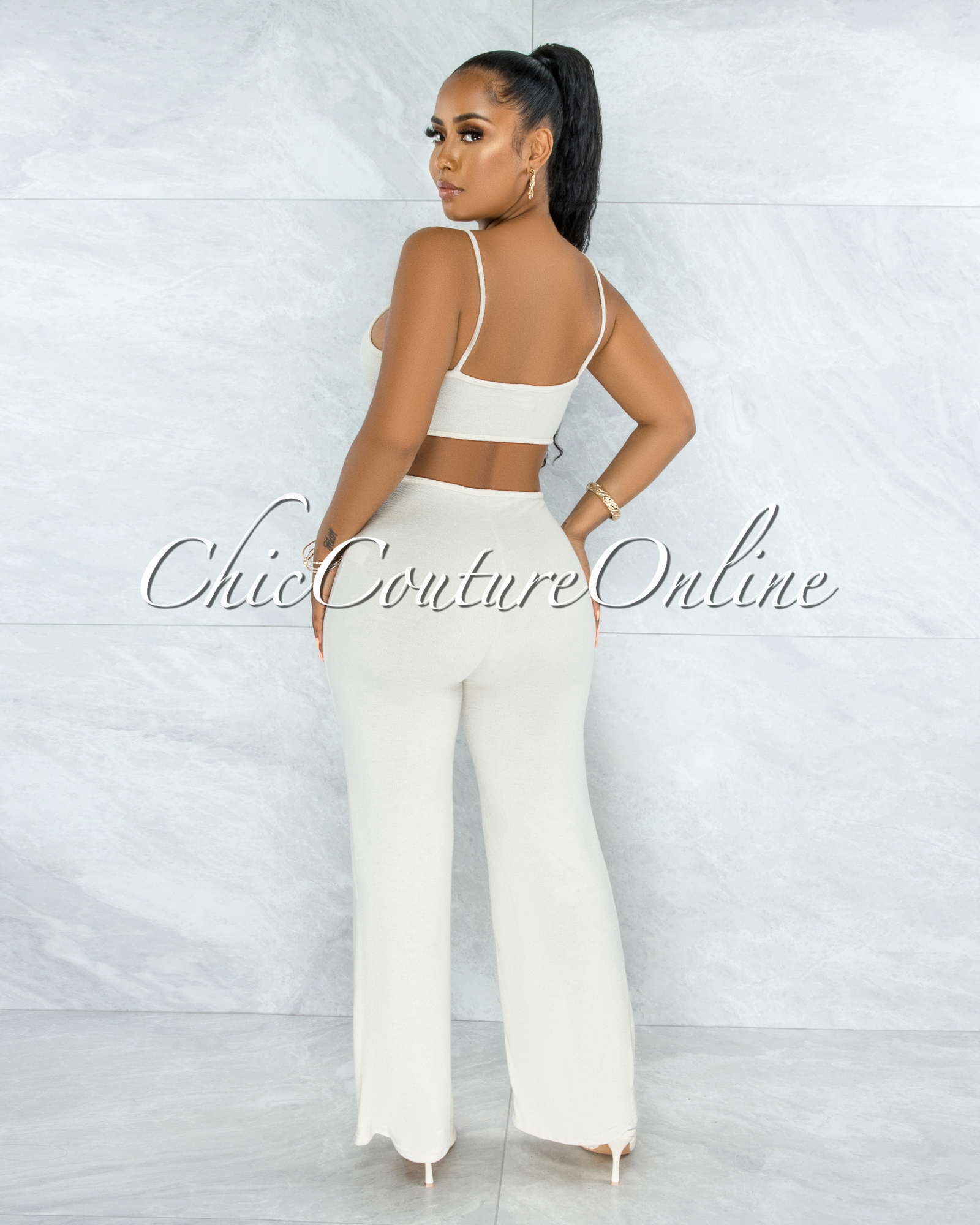 Dionizy Nude Front Knot Cut-Out Jumpsuit