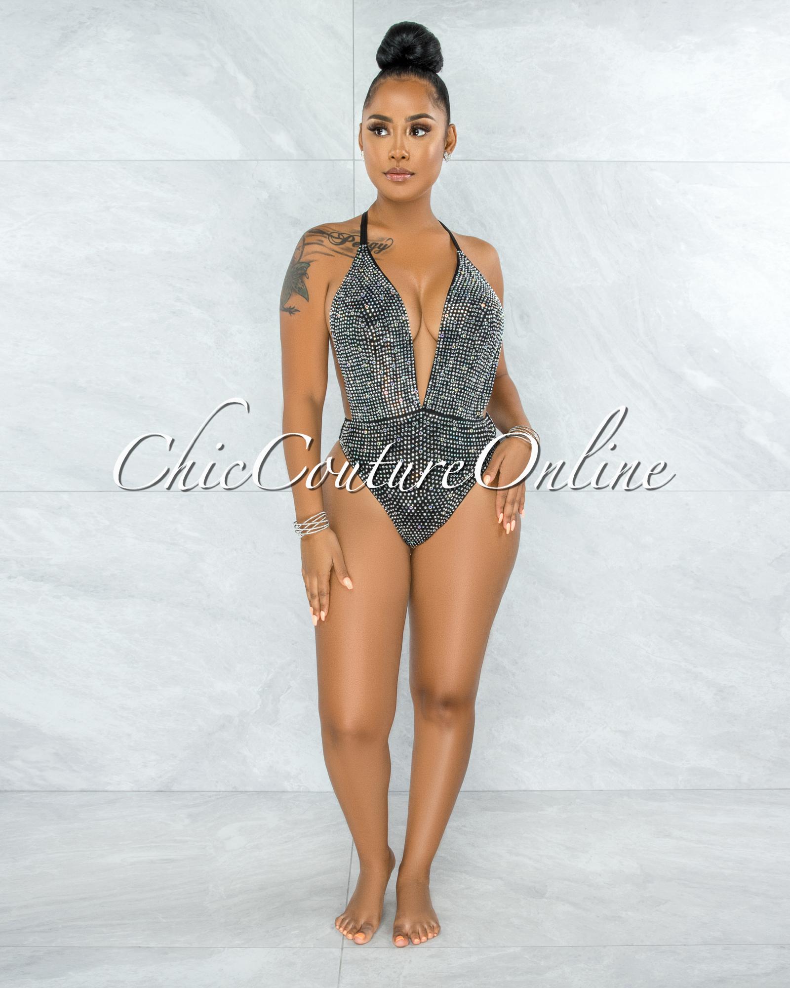 Jeanmary Black Mesh Rhinestones Embellishment Bodysuit