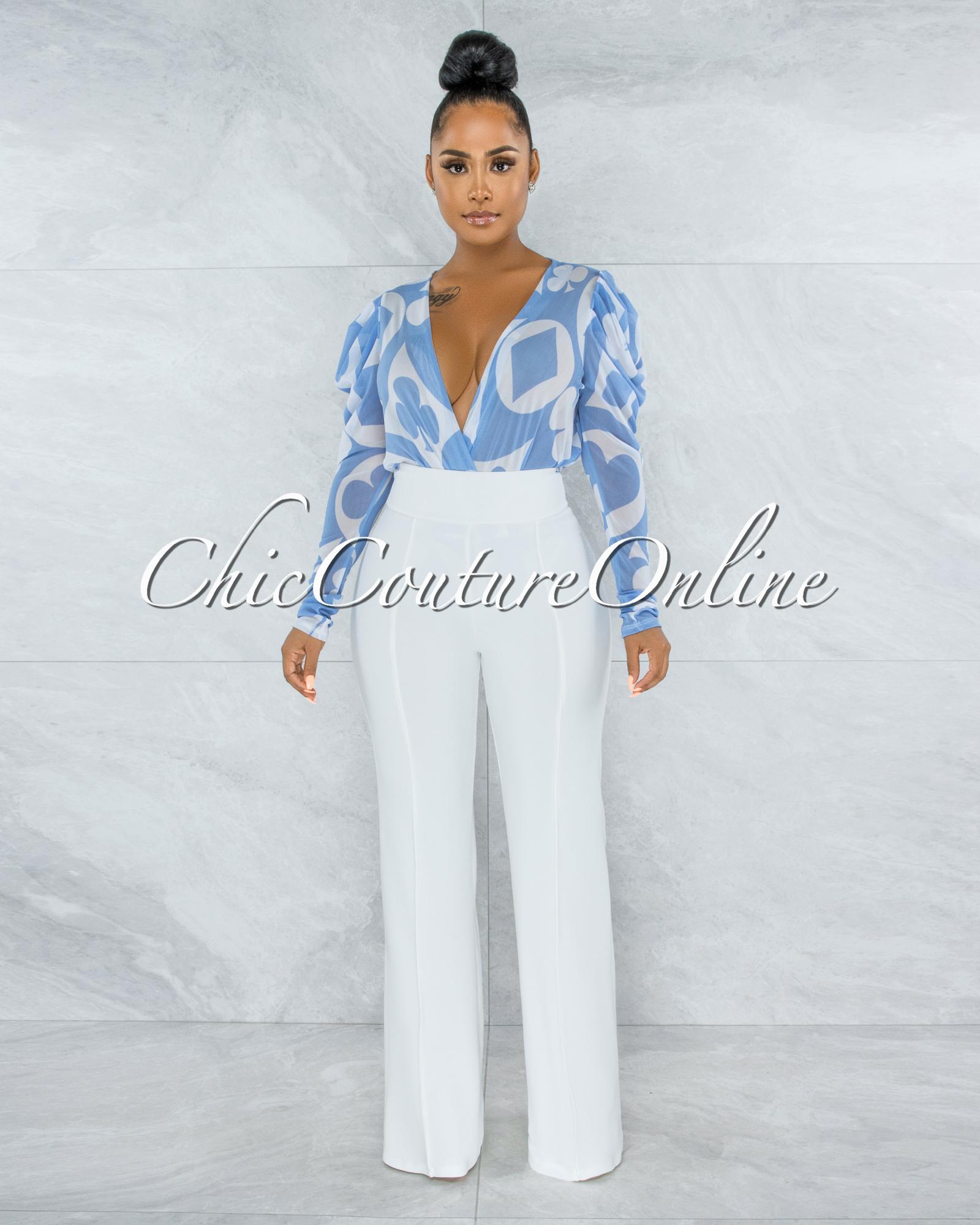 Tito Baby Blue White Print Mesh Sheer Bodysuit