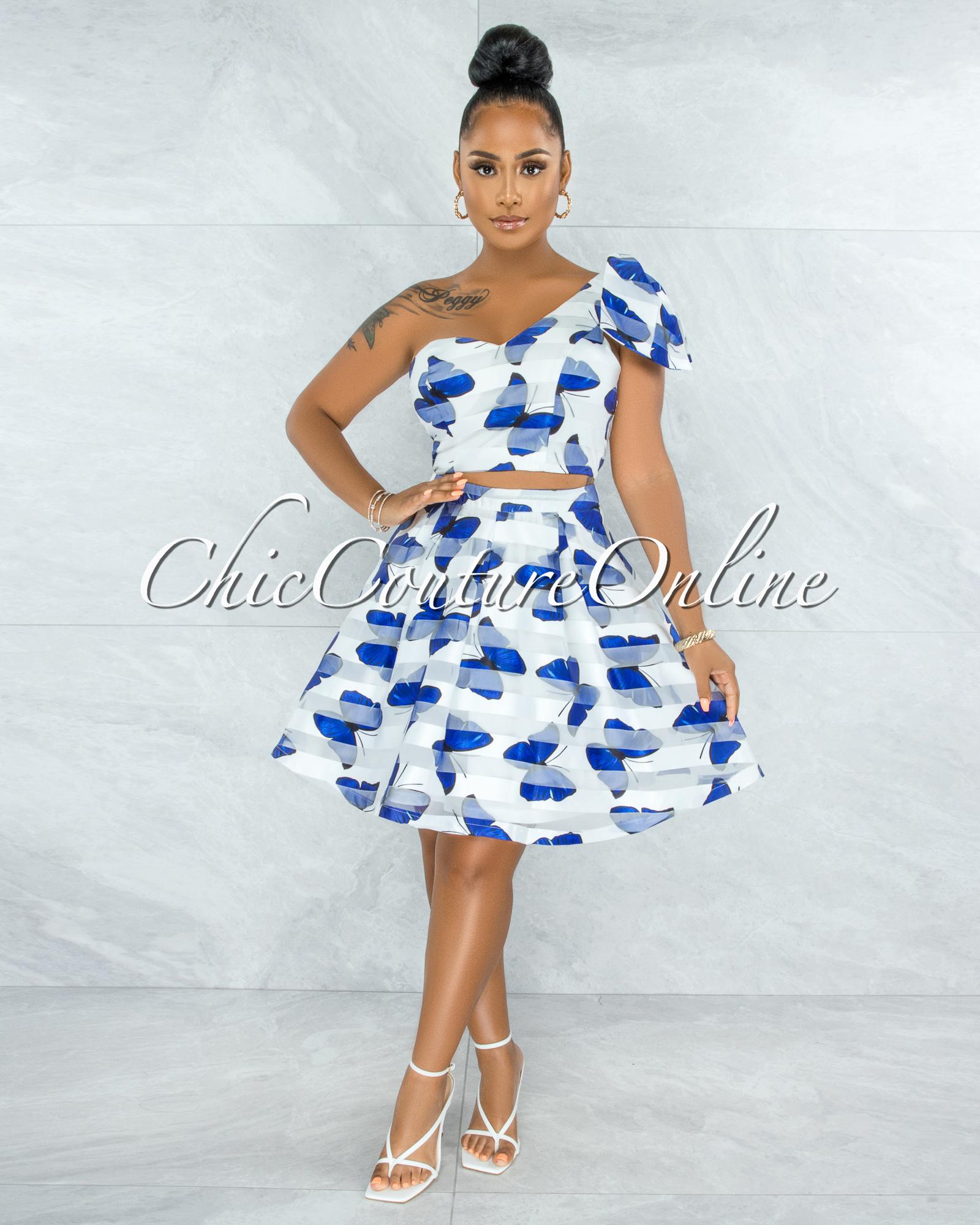 Olinda White Blue Butterfly Print Flutter Two Piece Set