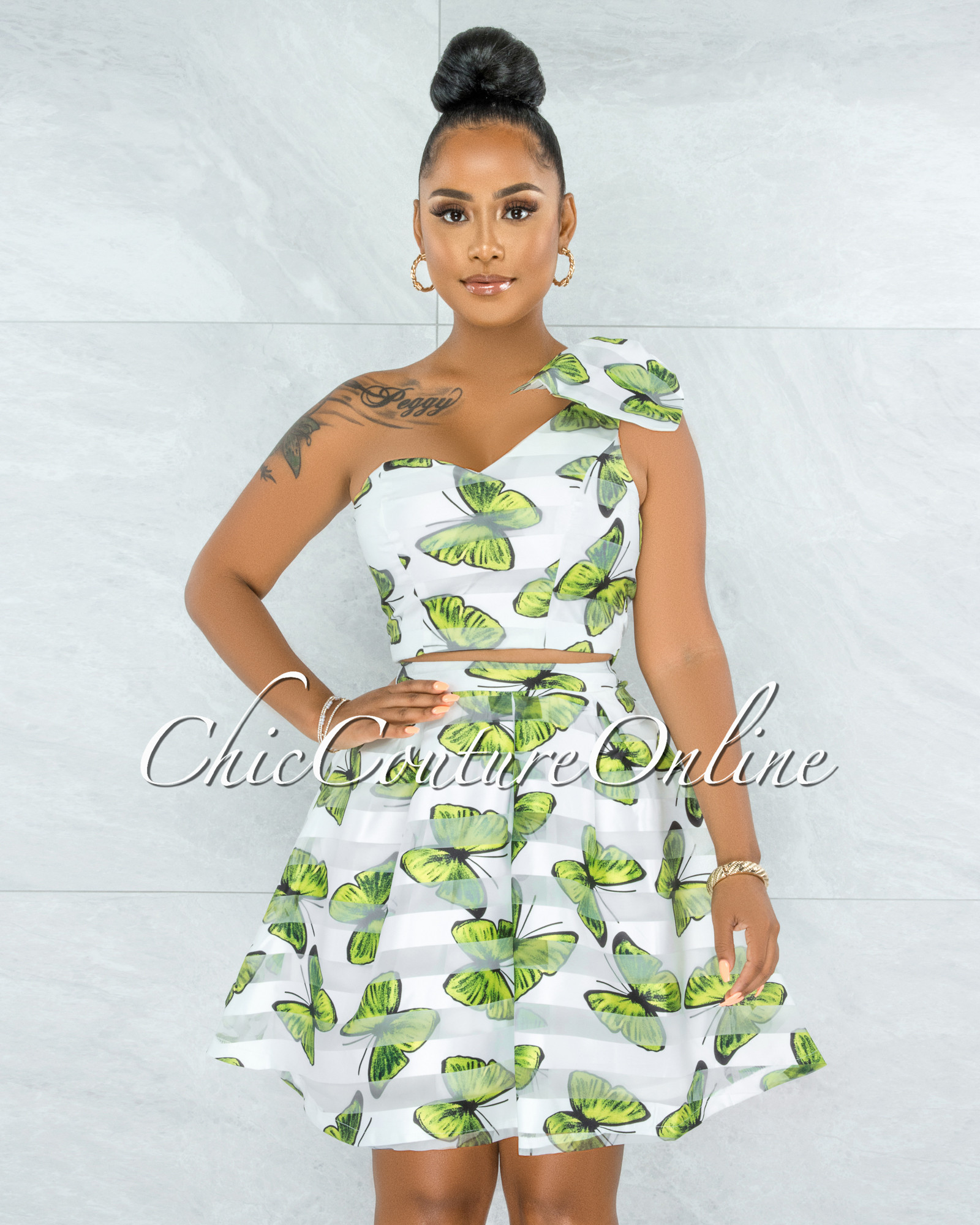 Olinda White Green Butterfly Print Flutter Two Piece Set